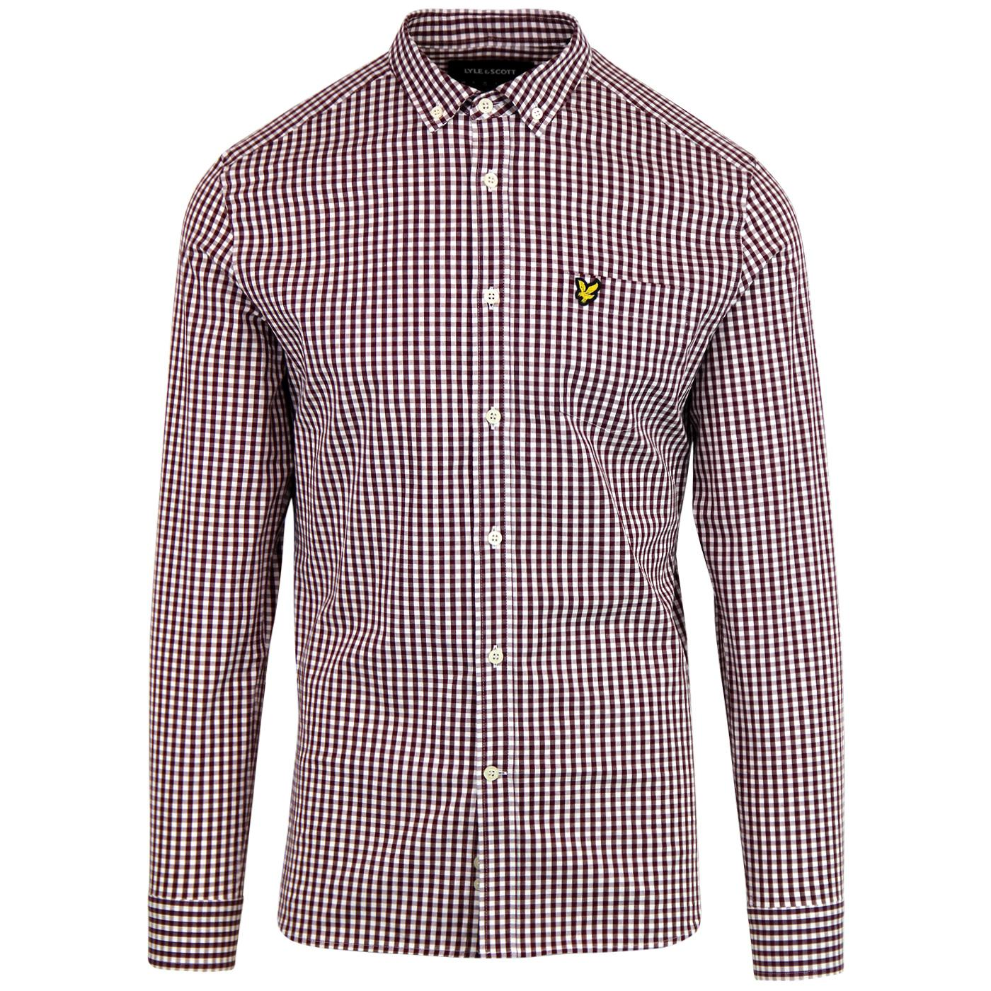 LYLE & SCOTT Mens Retro Mod Gingham Shirt - Claret