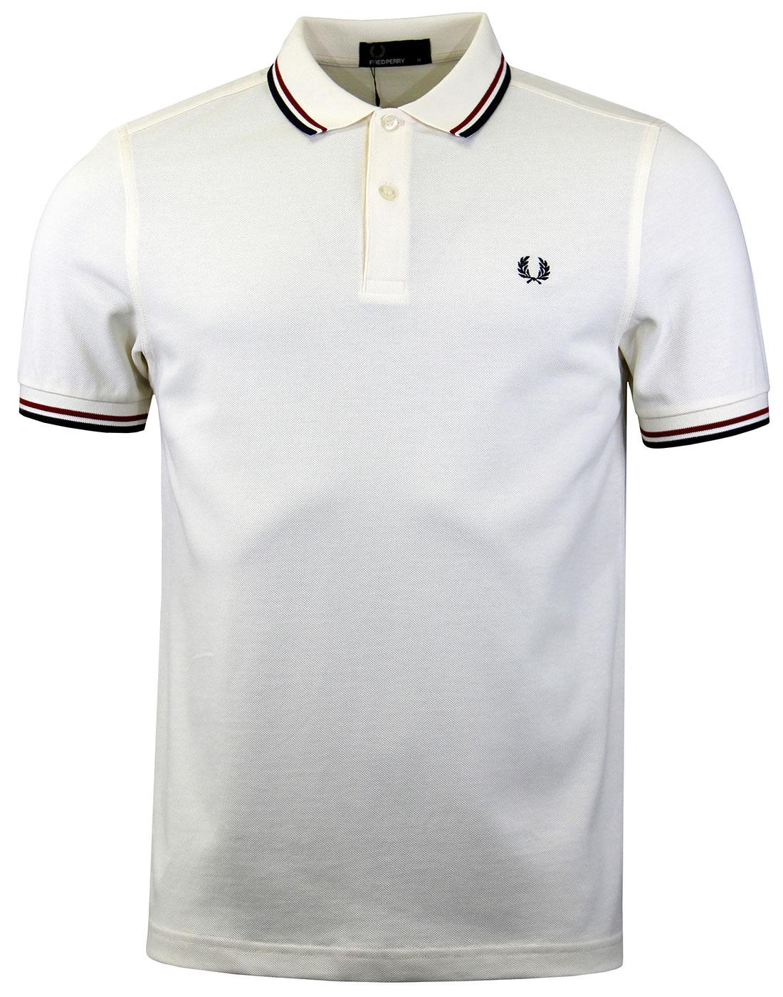 FRED PERRY M3600 Mod Twin Tipped Polo Shirt Ecru