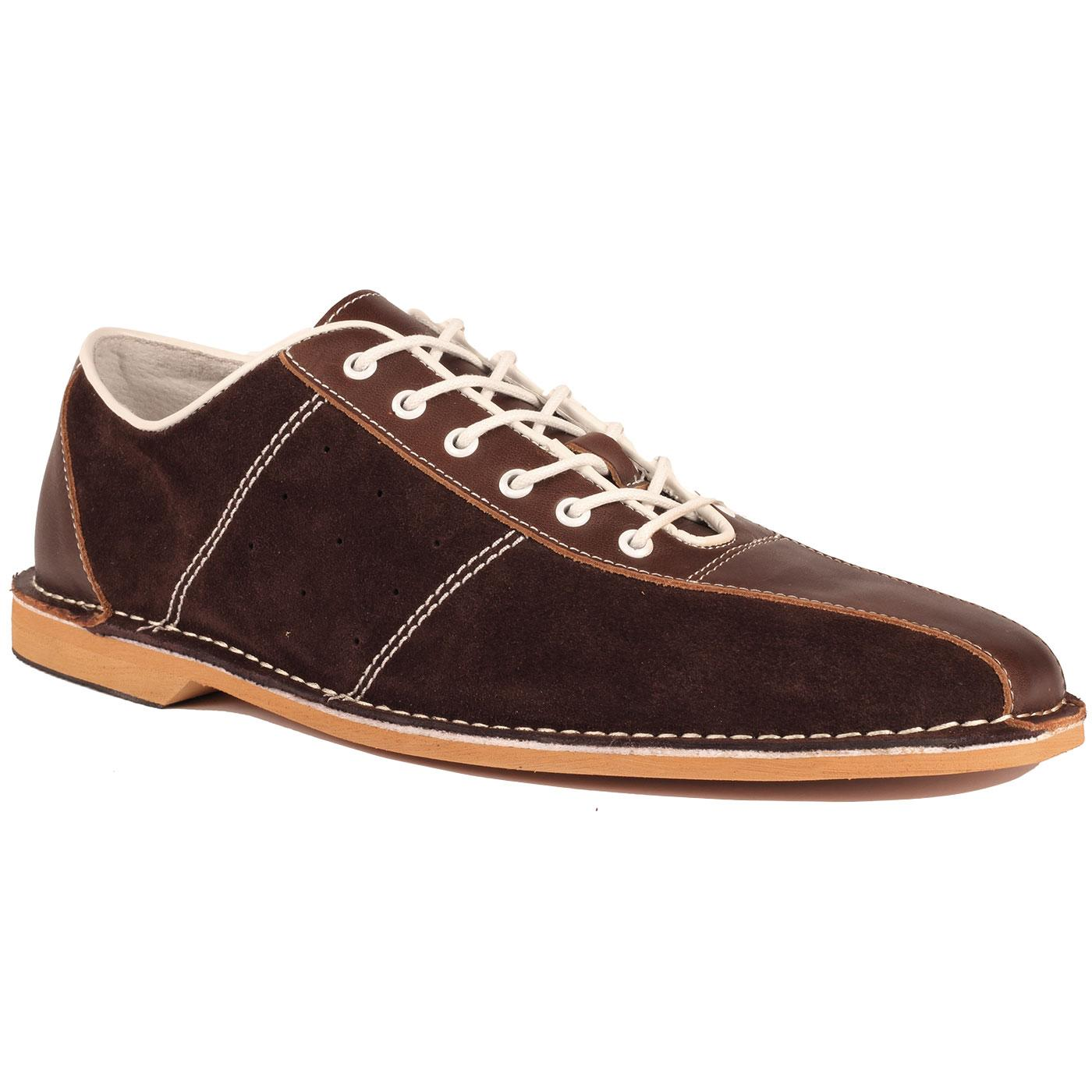 Madcap England All Up Retro Mod Northern Soul Bowling Shoes in Brown