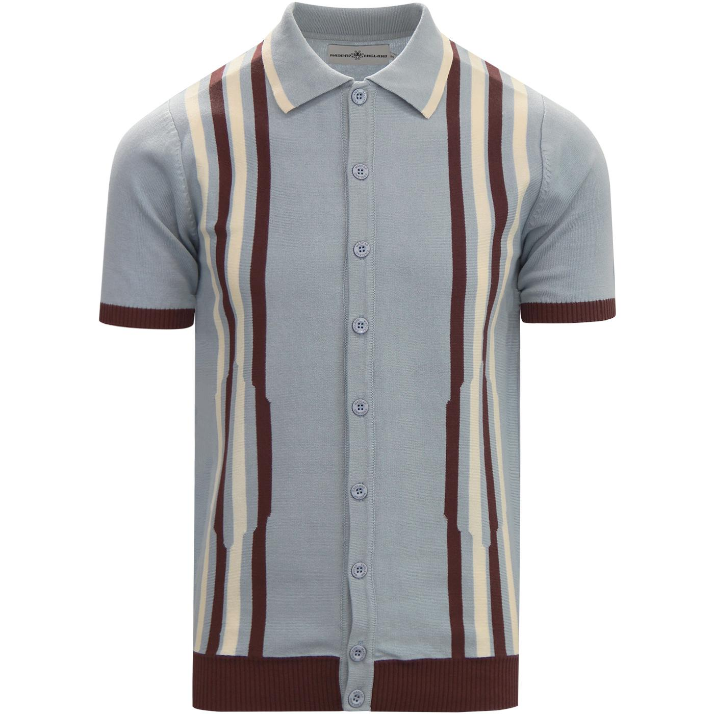 madcap england mens retro mod vertical stripes button through polo tshirt blue fog