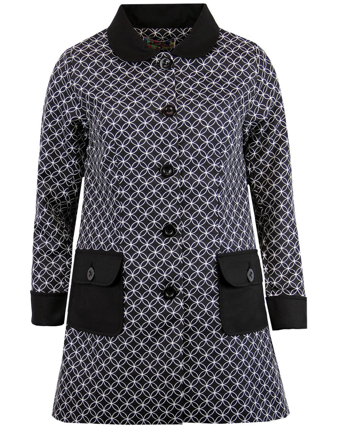 Hepburn MADCAP ENGLAND 60s Mod Op Art A-Line Coat