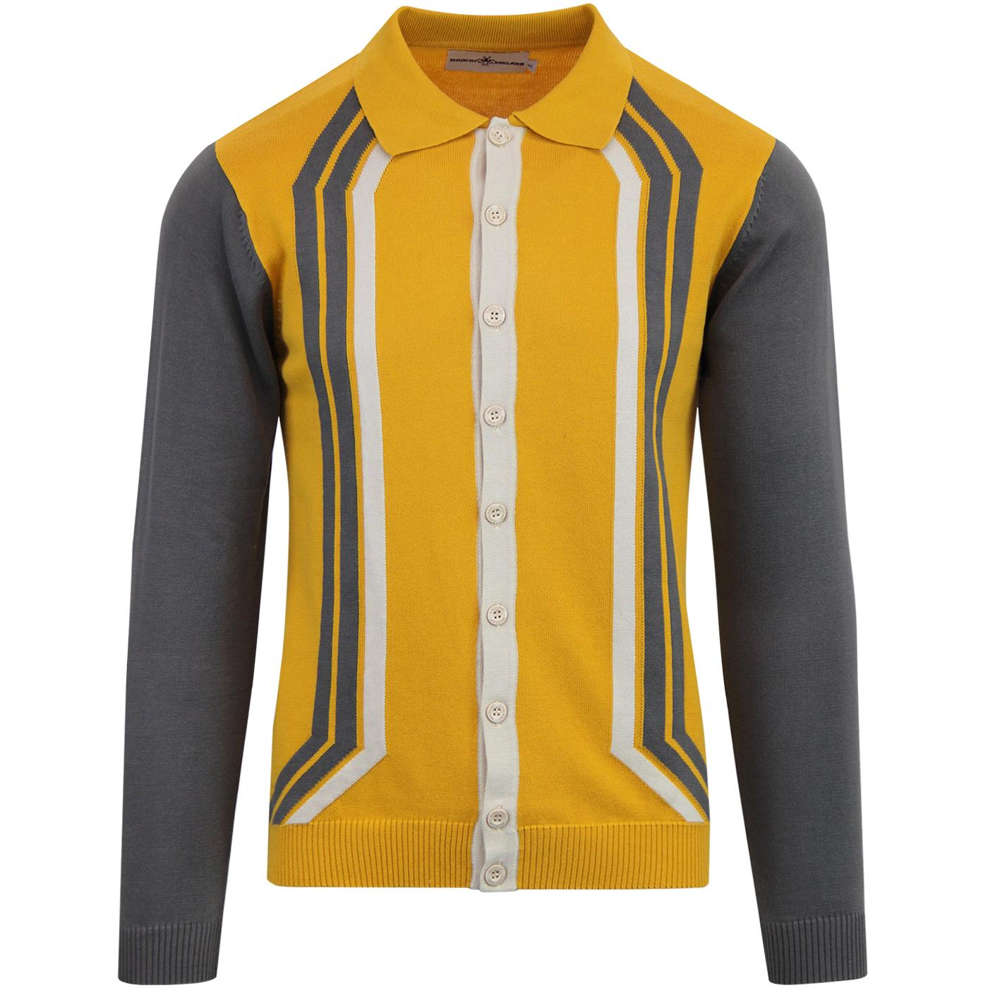 madcap england mens retro mod contrast sleeve chest stripe button down cardigan golden glow yellow grey