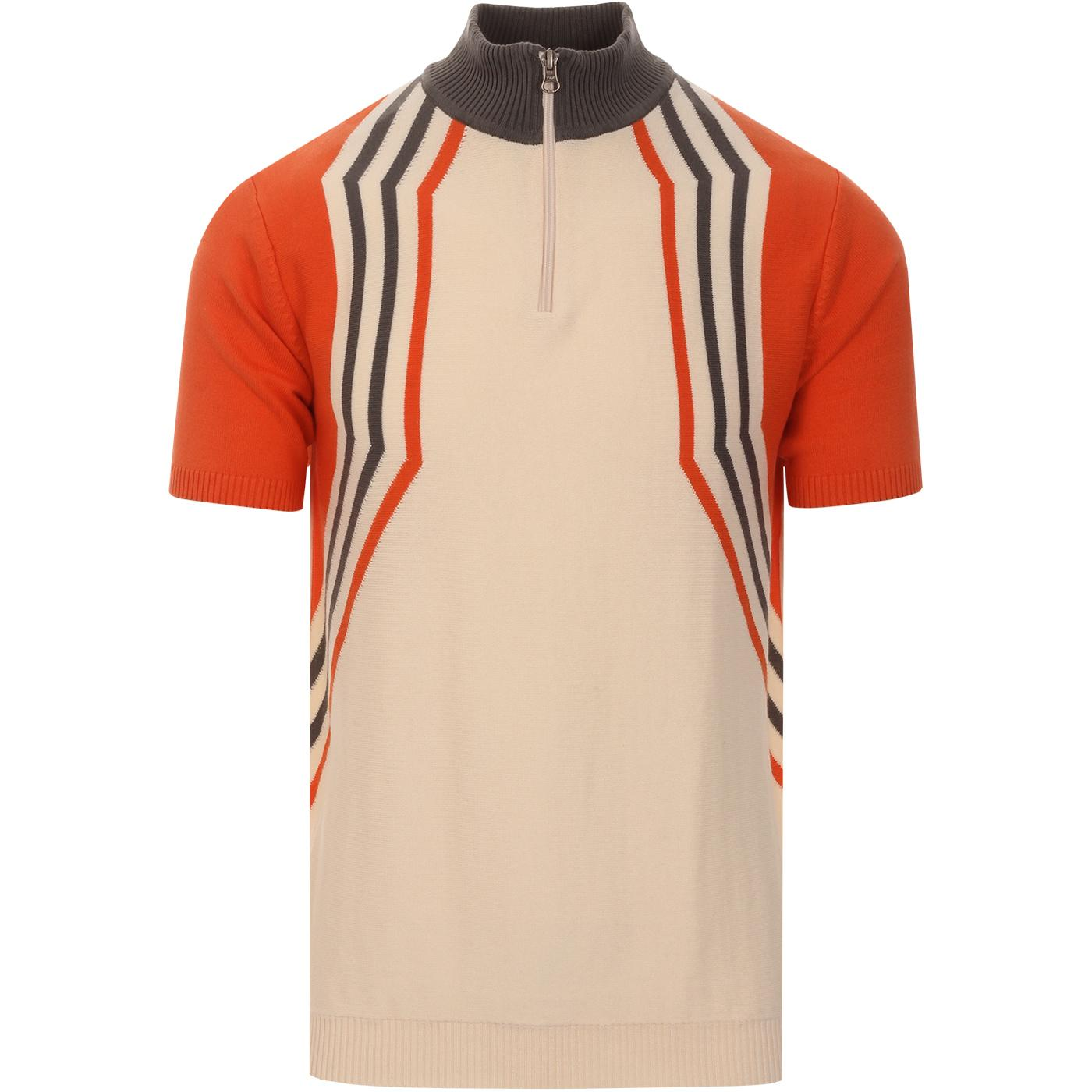 madcap england mens slipstream hex stripe half zip cycling short sleeve top eggnogg orange