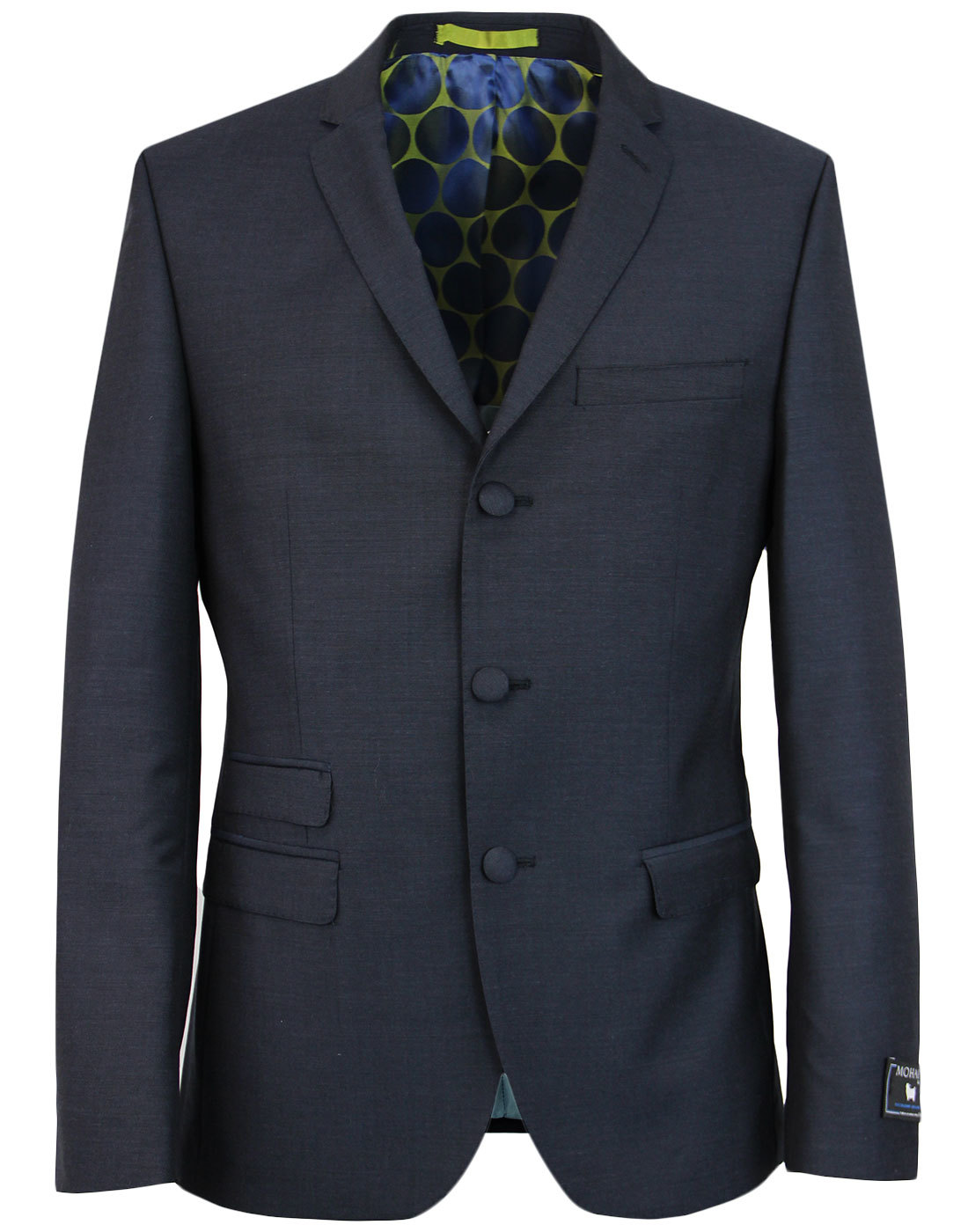 madcap england mohair 3 button suit jacket navy