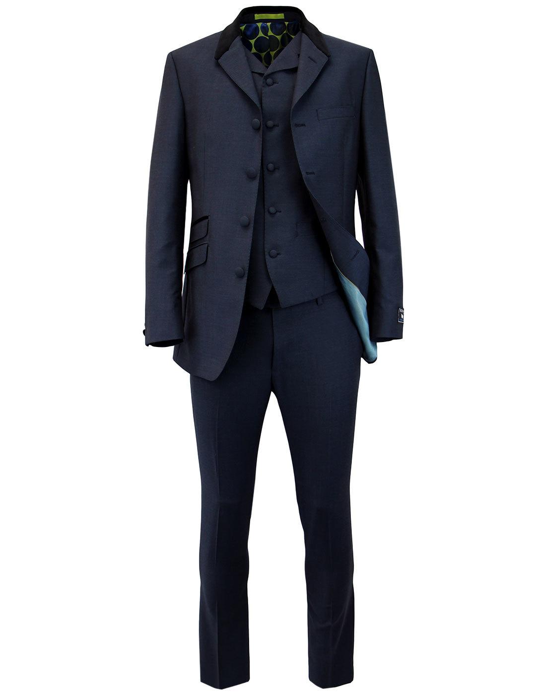 madcap england 60s mod 4 button mohair suit navy