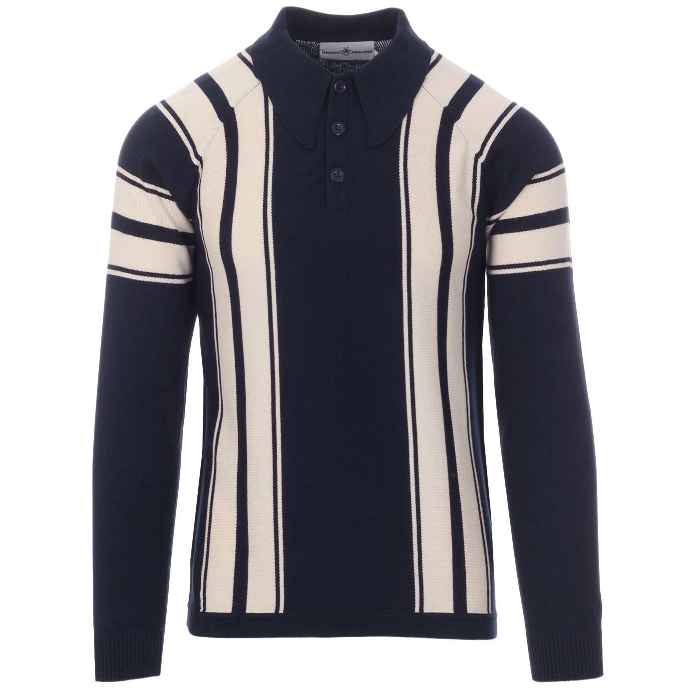 Madcap England Acid Test Men's Retro Mod Long Sleeve Stripe Big Collar Polo Top