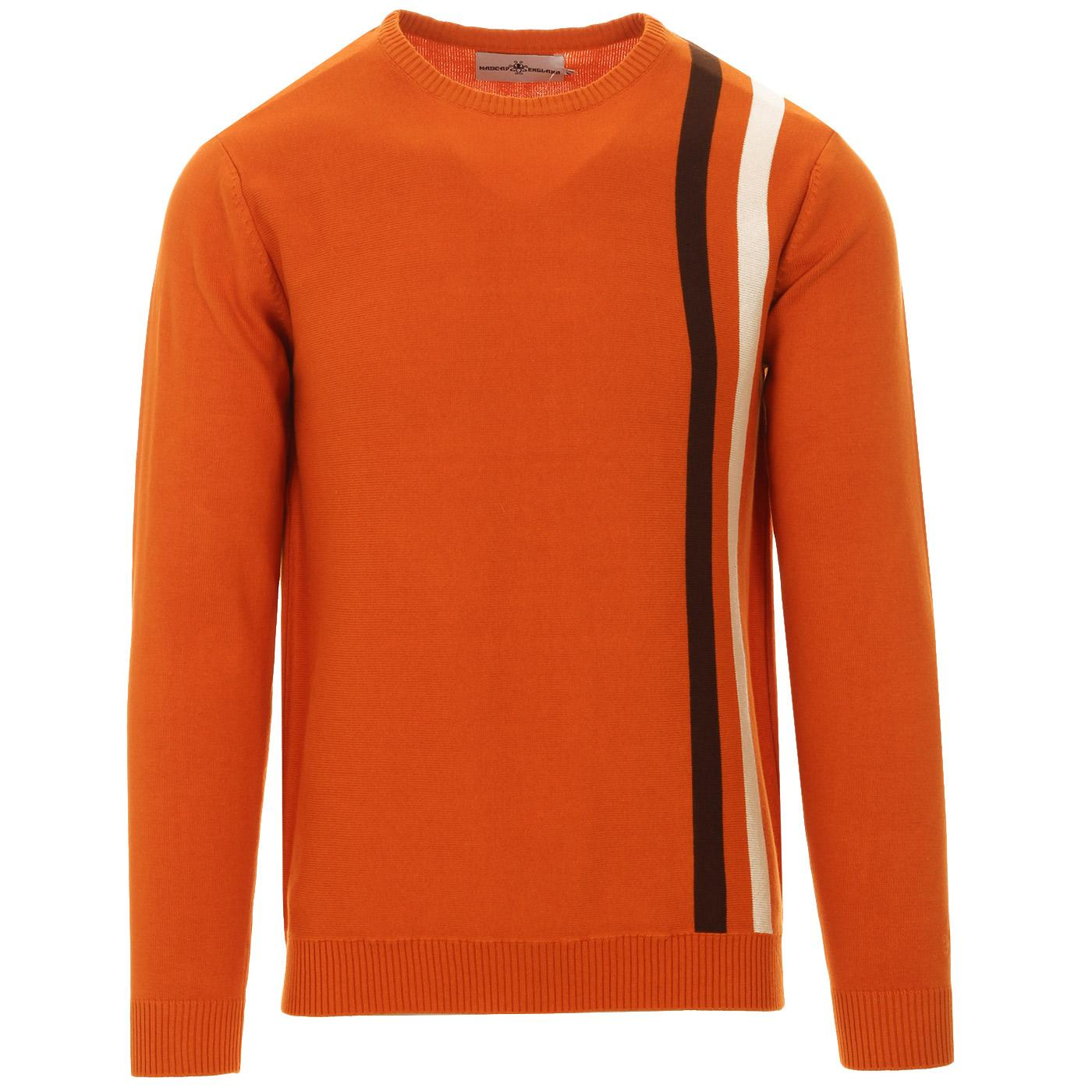 Madcap England Action 60s Mod Stripe Racing Jumper in Marmalade