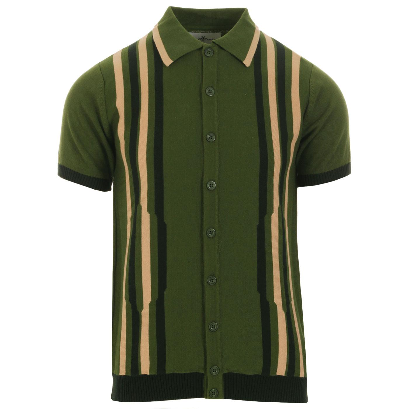 Madcap England Shockwave 1960s Mod Abstract Stripe Knitted Polo Shirt in Cypress Green