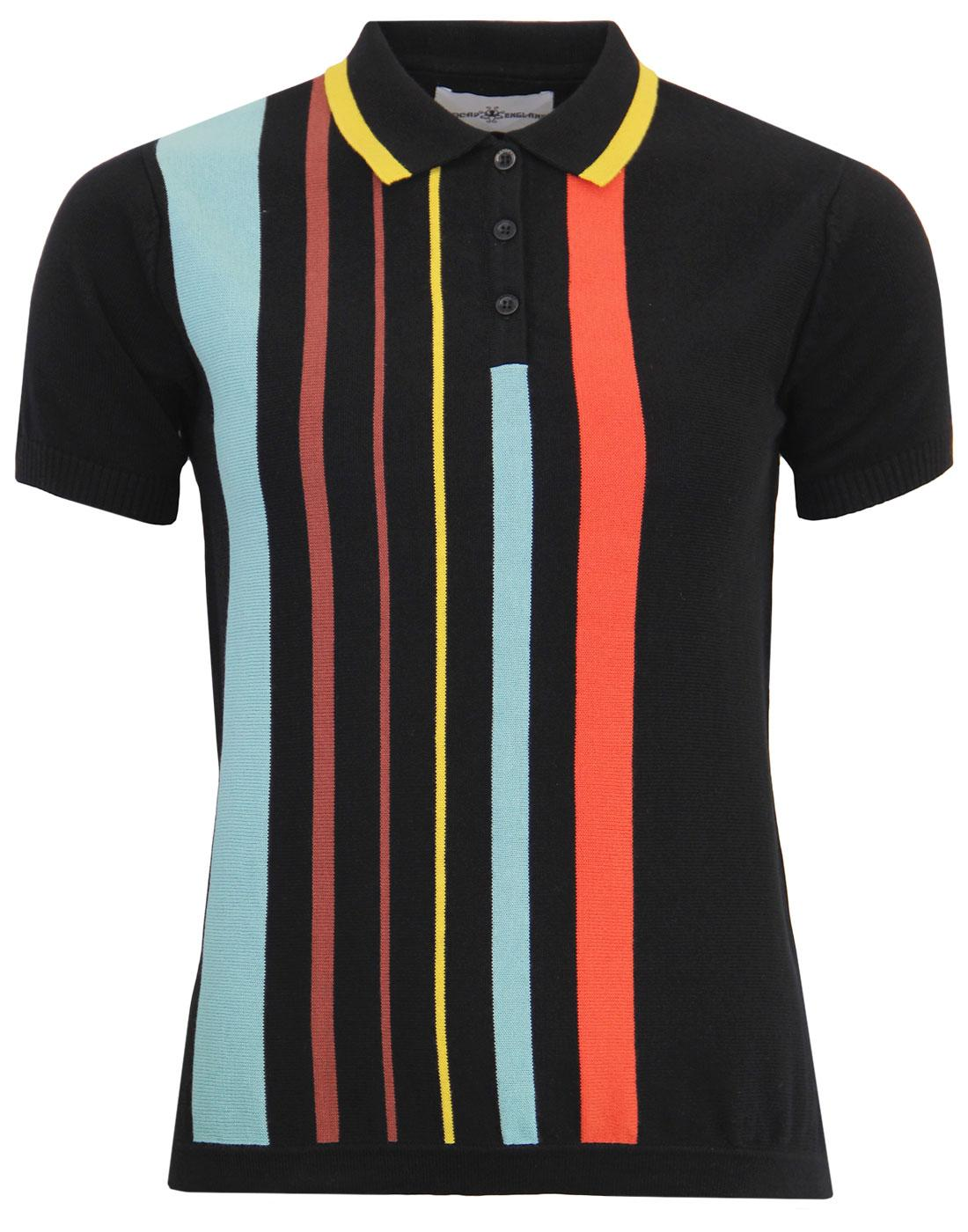 madcap england bauhaus belle mod stripe polo black