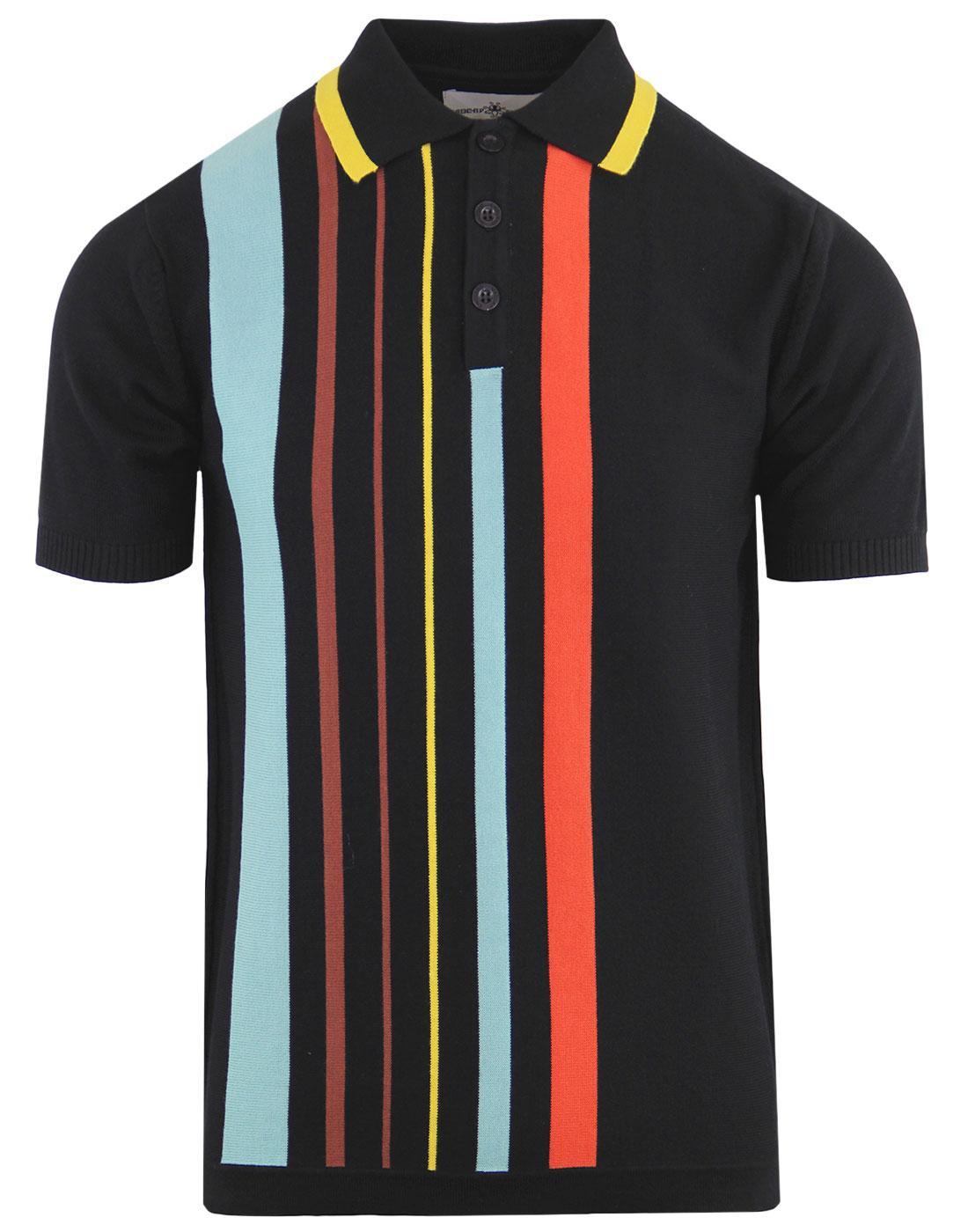 madcap england bauhaus retro mod stripe polo black