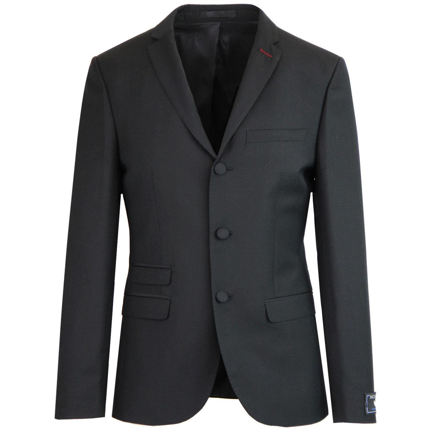 MADCAP ENGLAND 3 Button Mohair Suit Blazer (Black)