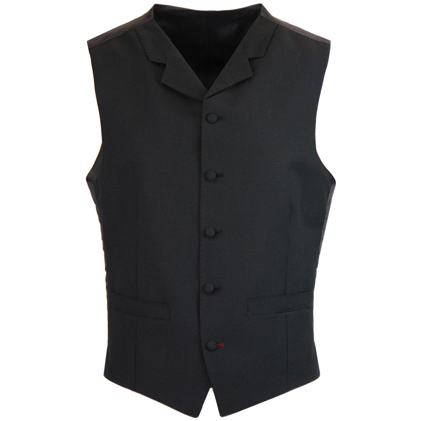Madcap England 1960s Mod Mohair 5 Button Lapel Waistcoat in Black