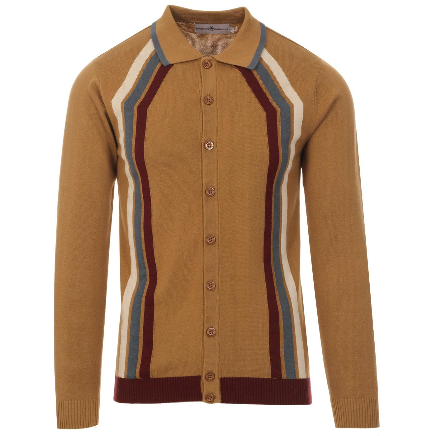 Madcap England Blast men's 60s mod contoured stripe knitted polo cardigan in fall leaf