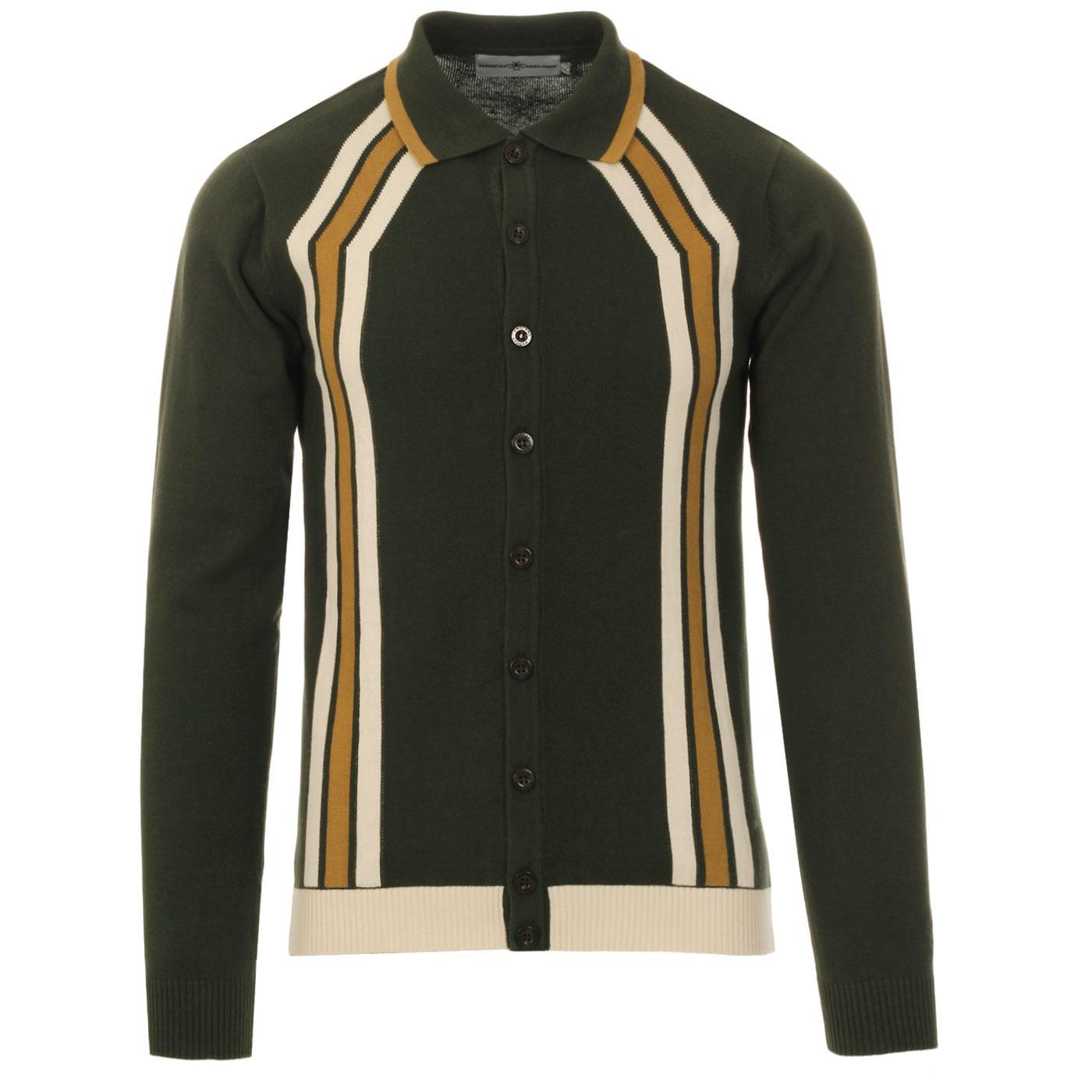 Madcap England Blast men's 60s mod contoured stripe knitted polo cardigan in rosin