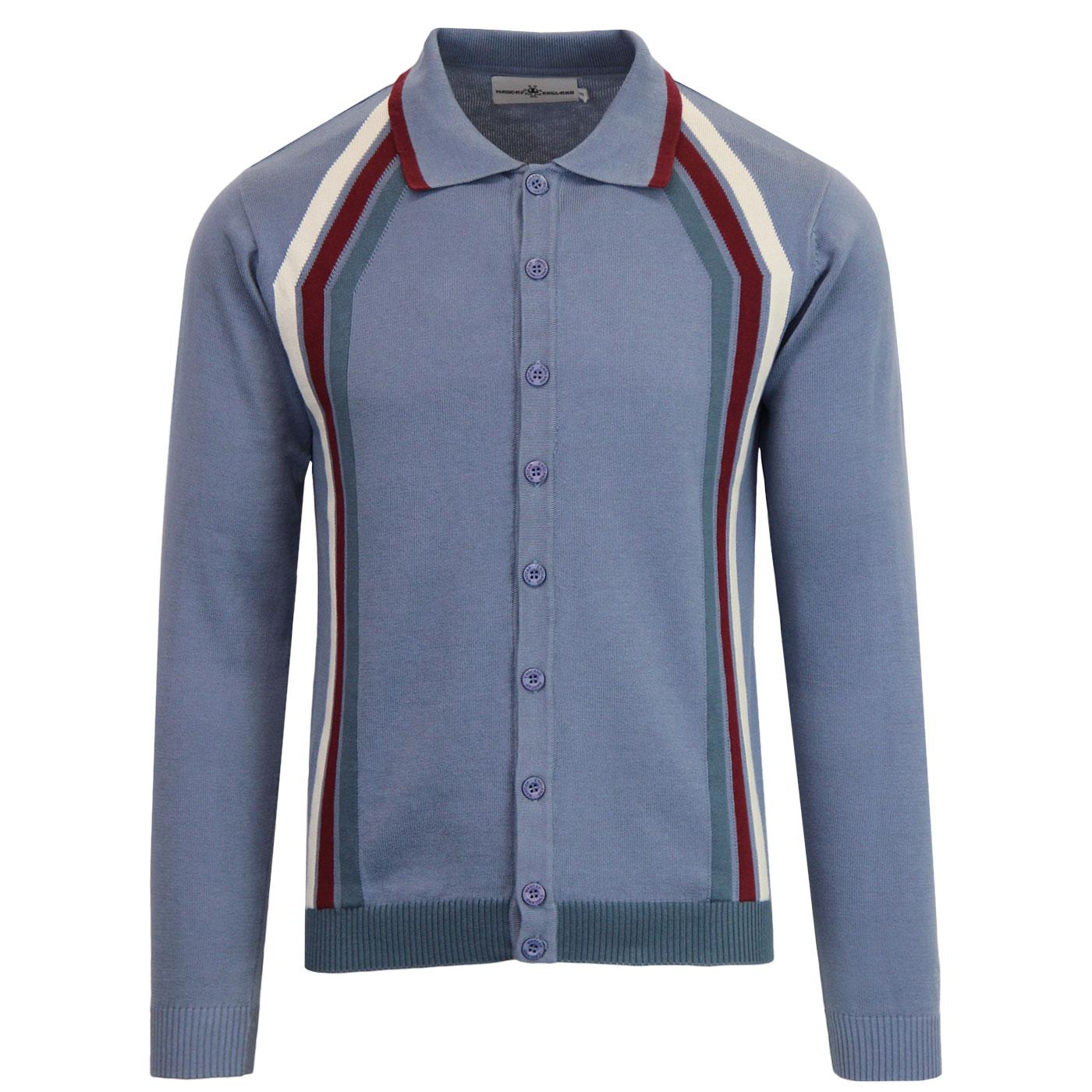 Madcap England Blast Men's 1960s Mod Stripe Knit Polo Cardigan in Flintstone