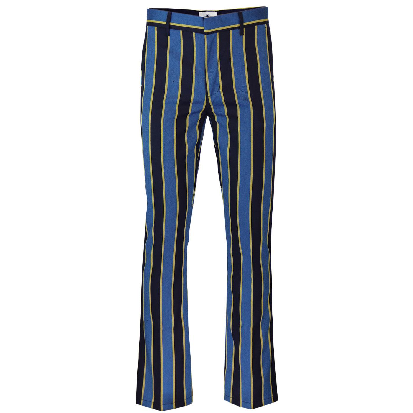 Madcap England Backbeat 1960s Mod Bootcut Flared Trousers in Blue and Yellow.
