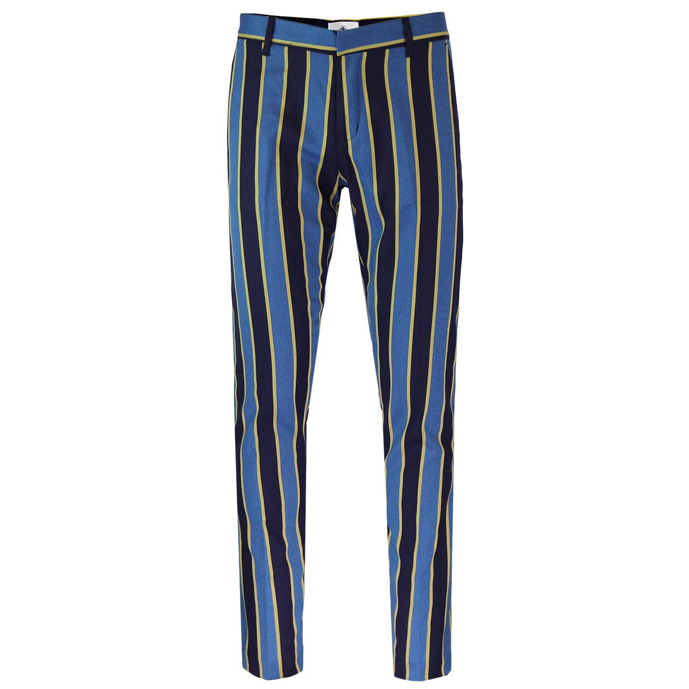 Offbeat MADCAP ENGLAND 60s Mod Stripe Trousers B/Y