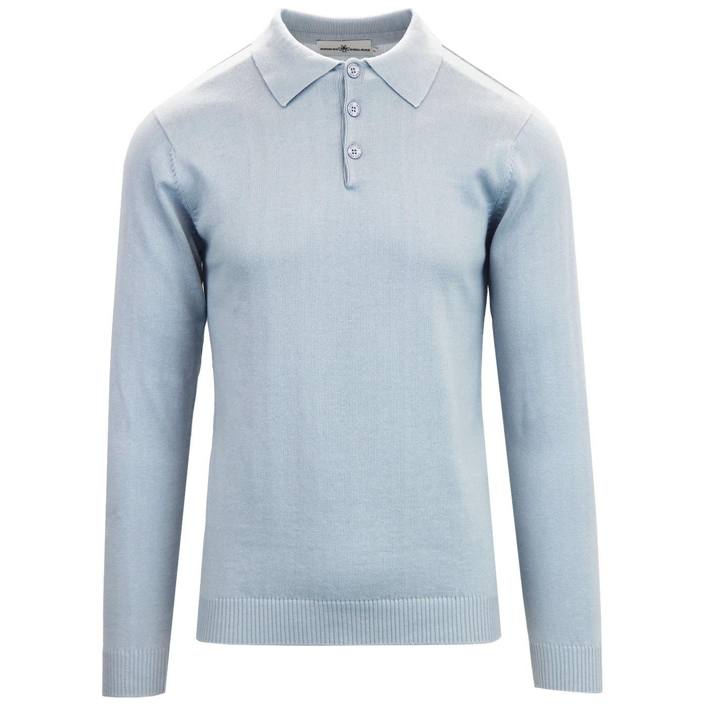 Madcap England Brando Men's 1960s Mod Knitted Polo Shirt in Blue Fog
