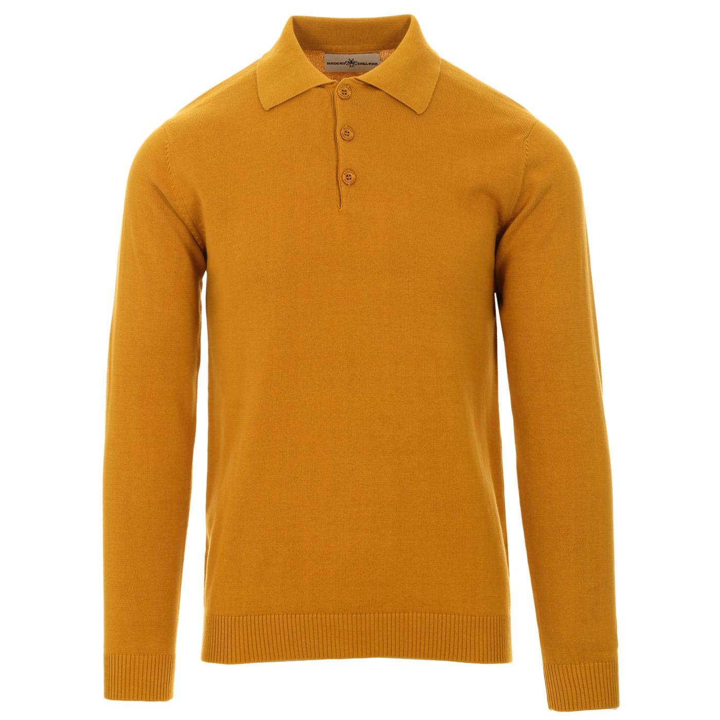 Madcap England Brando 60s Mod Long Sleeve Knitted Polo Shirt in Harvest Gold