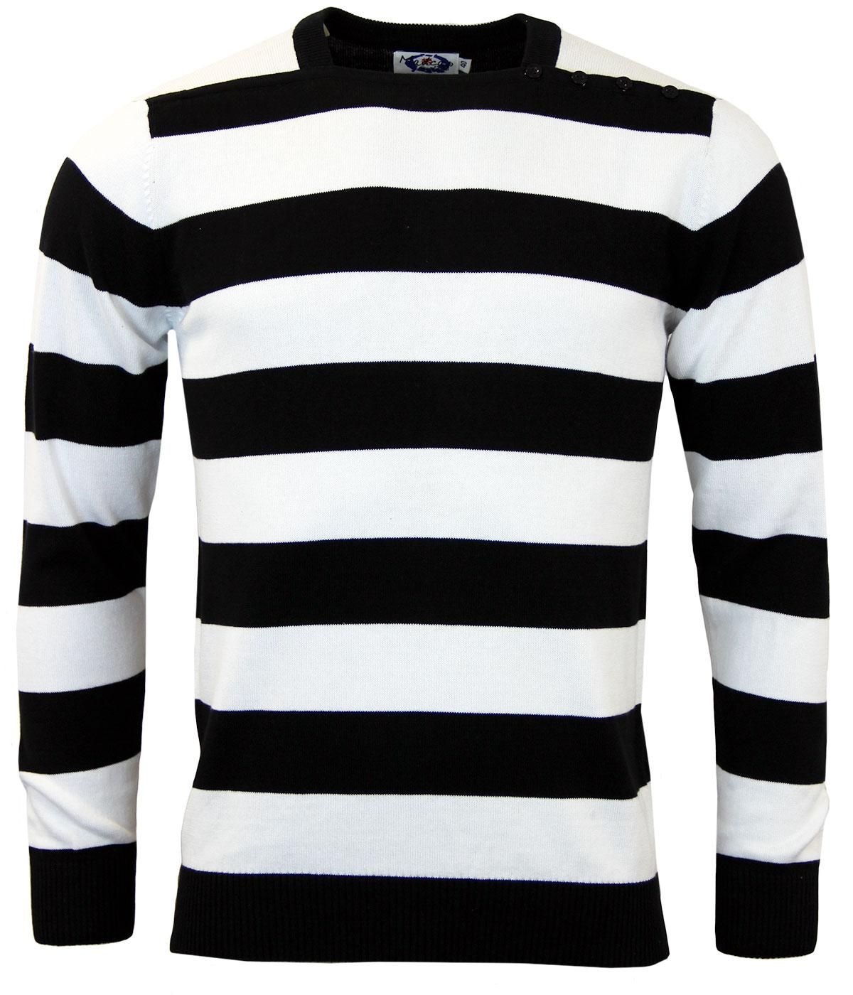 Madcap England Mens Jones Straight Neck Jumper In Black And White