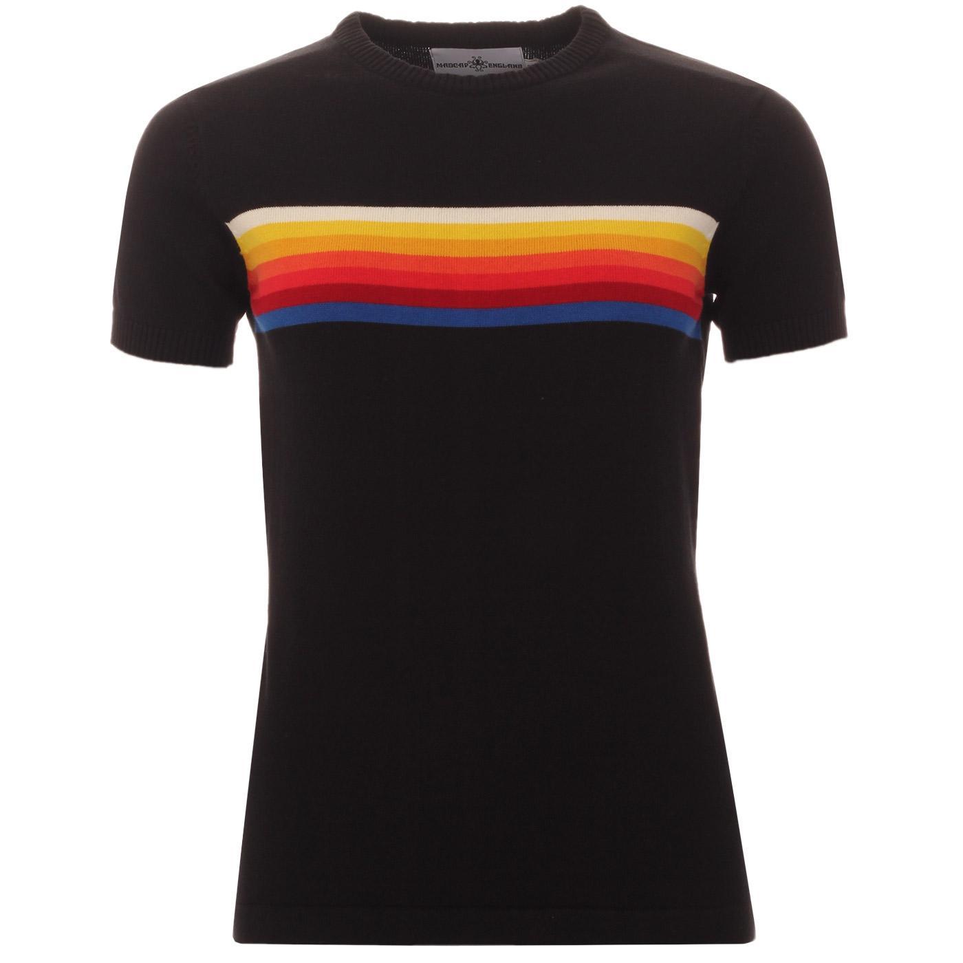 Madcap England Britpop Women's Retro Mod Rainbow Chest Stripe Knitted Tee in Black