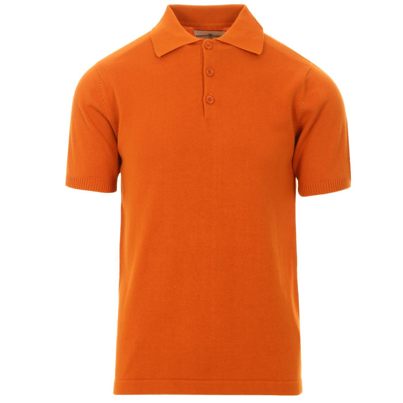 Madcap England Brando SS 60s Mod Knitted Polo Shirt in Marmalade