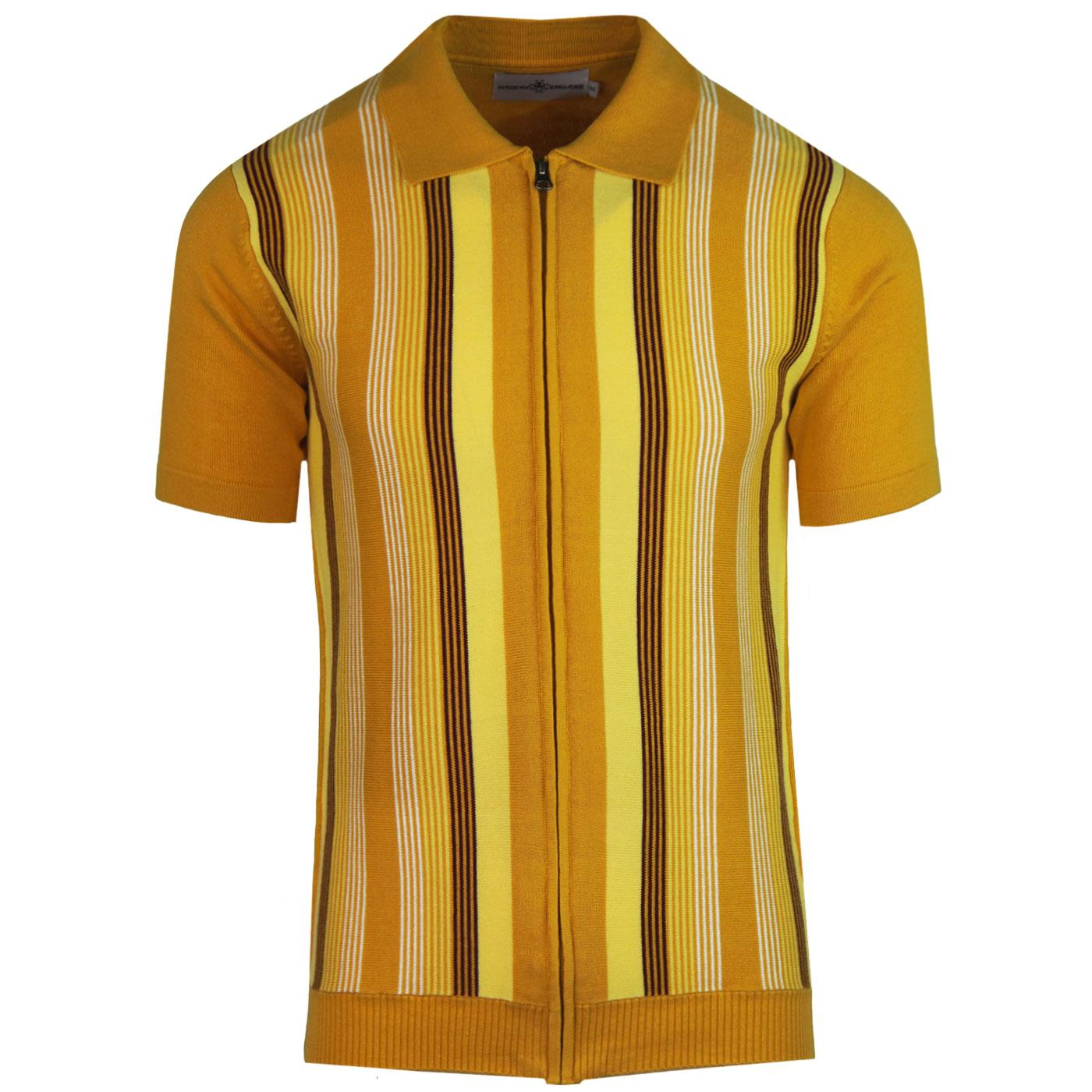 Madcap England Capitol 1960s Mod Stripe Zip Knit Polo Top in Golden Glow