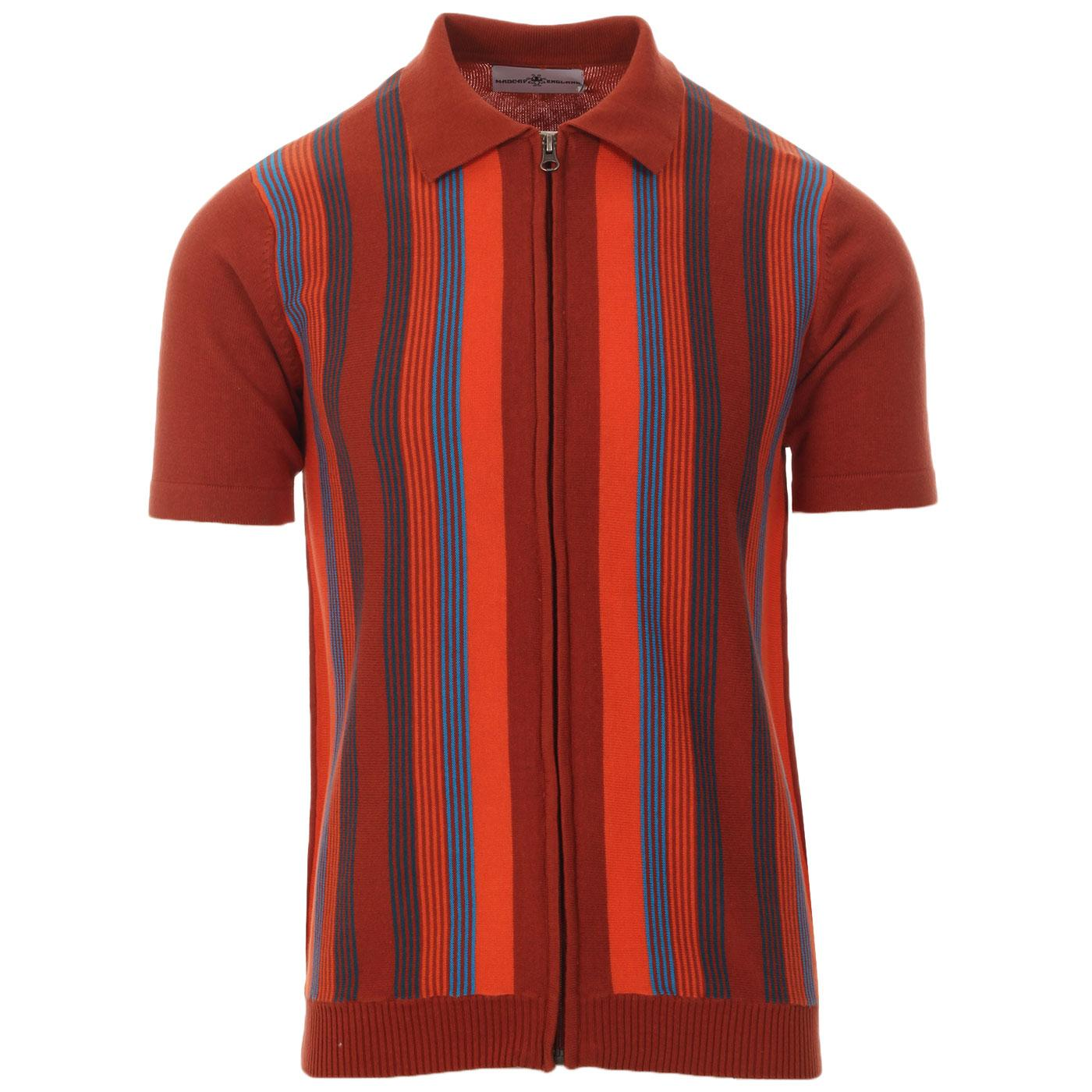Madcap England Capitol Men's 1960s Mod Multi Stripe Knitted Zip Through Polo Top in Picante
