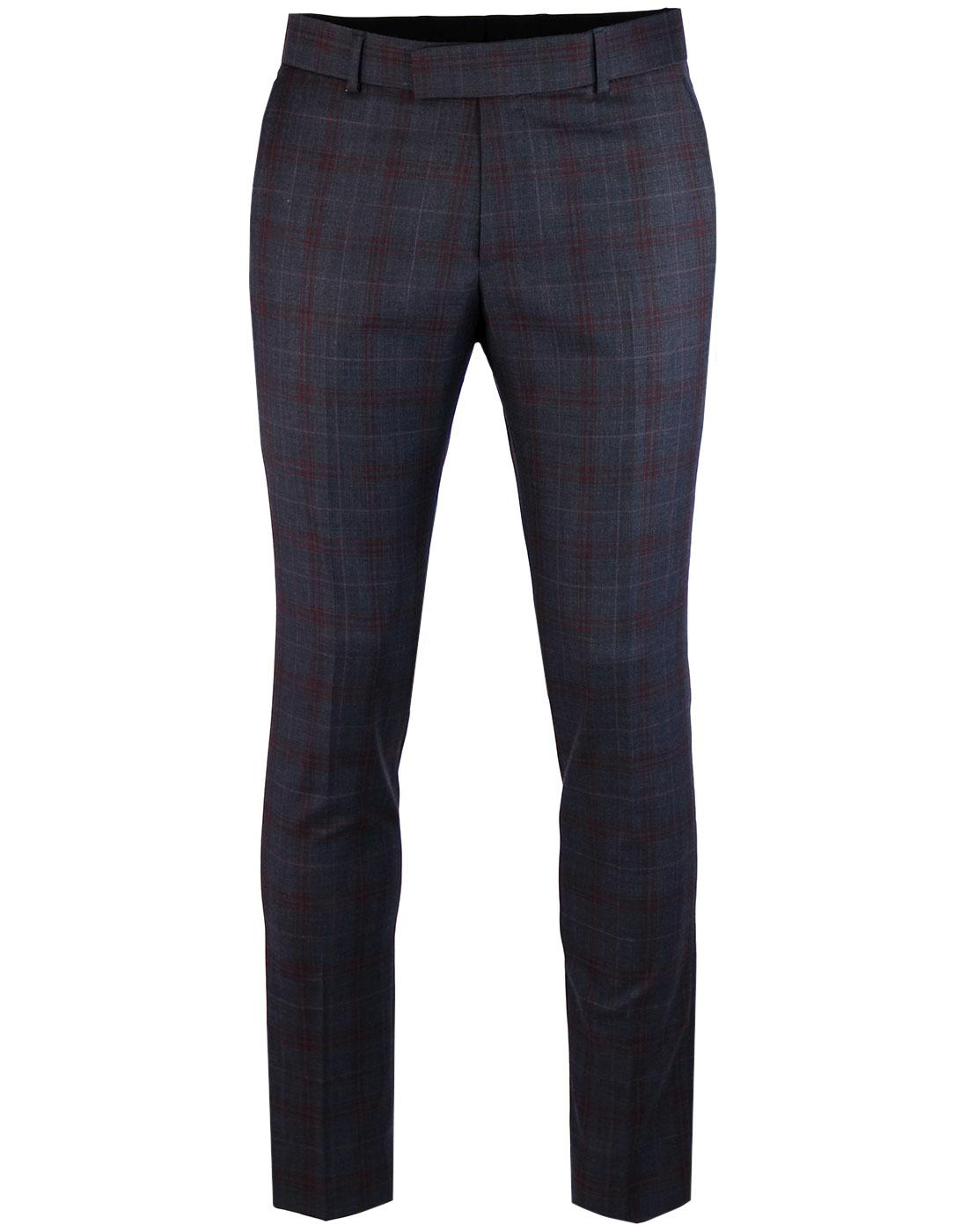 MADCAP ENGLAND Mod Plaid Check Suit Trousers NAVY