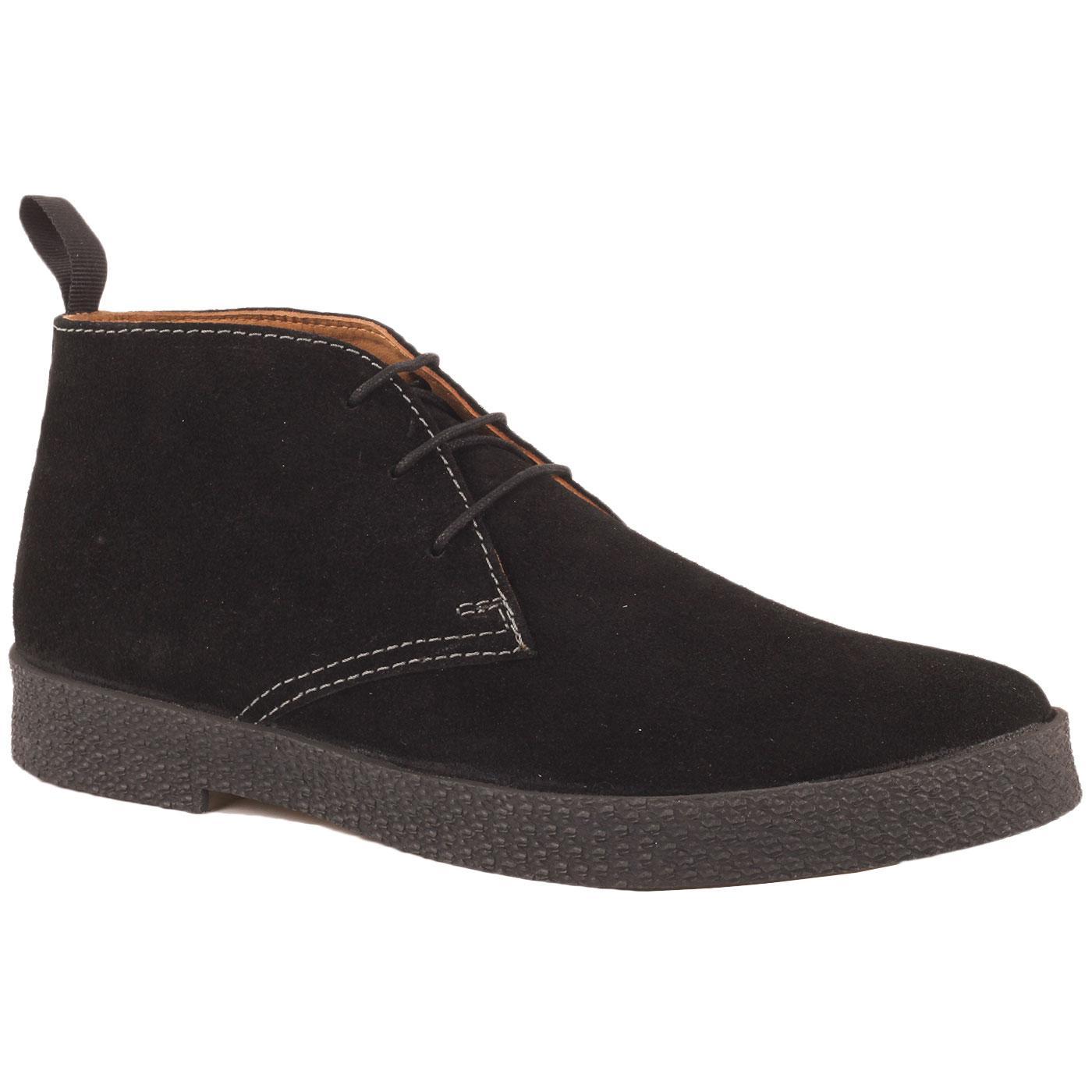 Madcap England Cisco 60s Mod Suede Playboy Chukka Boots in Black