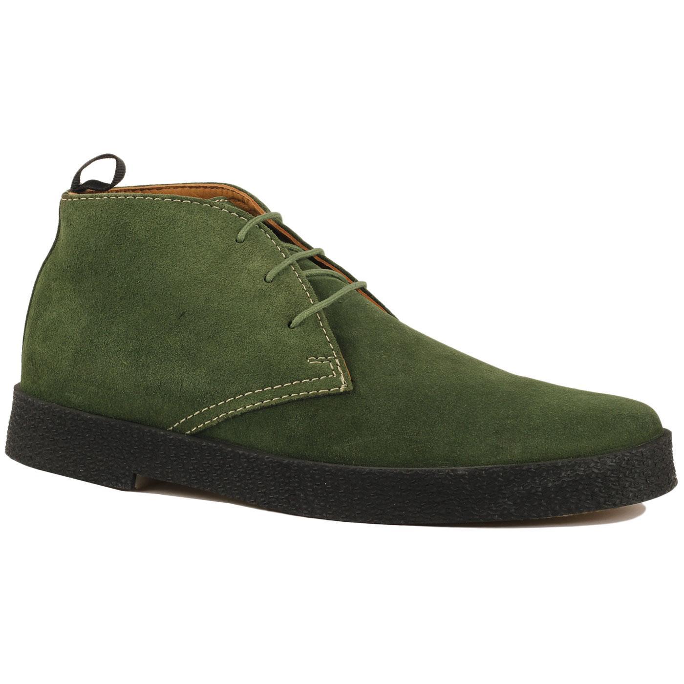 Madcap England Cisco Men's 60s Mod Suede Playboy Desert Boots in Green Suede