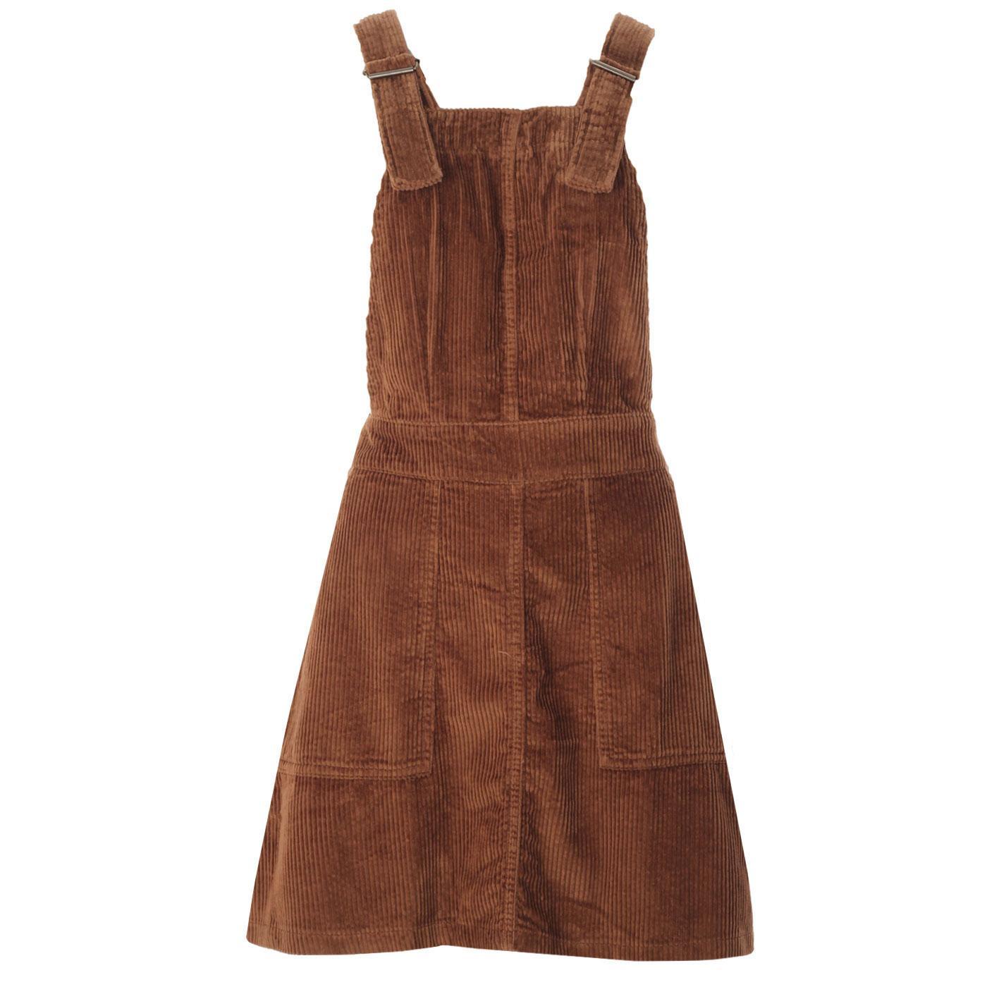 Madcap England Retro 60s Jumbo Cord Pinafore Dress in Toffee