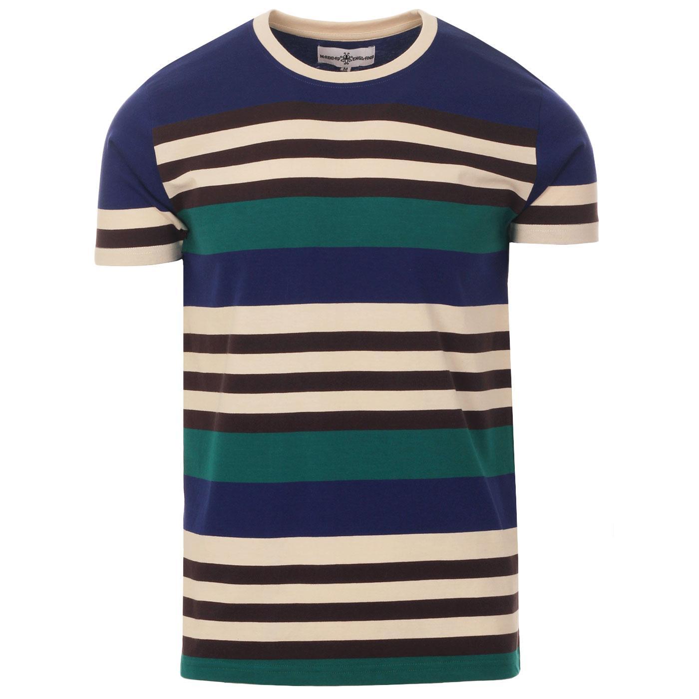 Madcap England Cosmo Retro 70s Stripe T-shirt in Beacon Blue