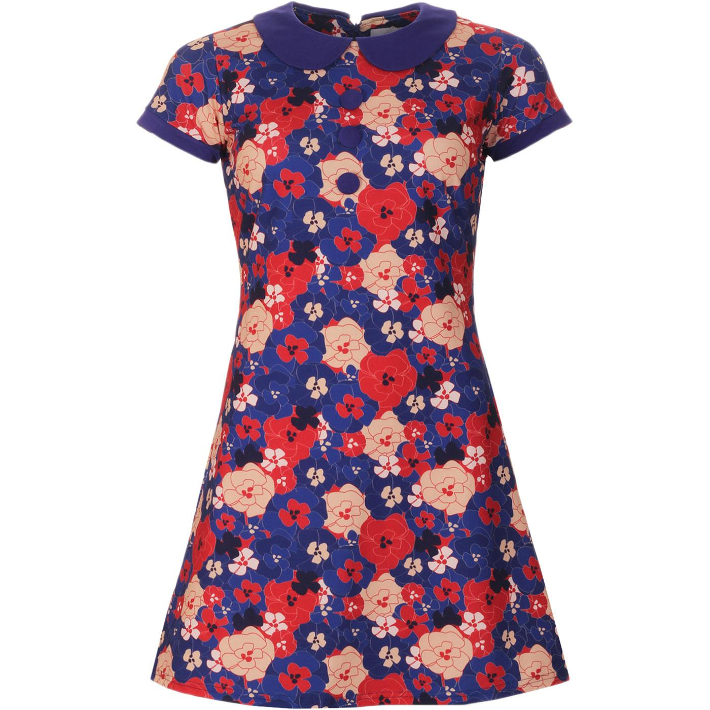 Madcap England Dollierocker Retro Floral Peter Pan Collar 60s Mod Dress