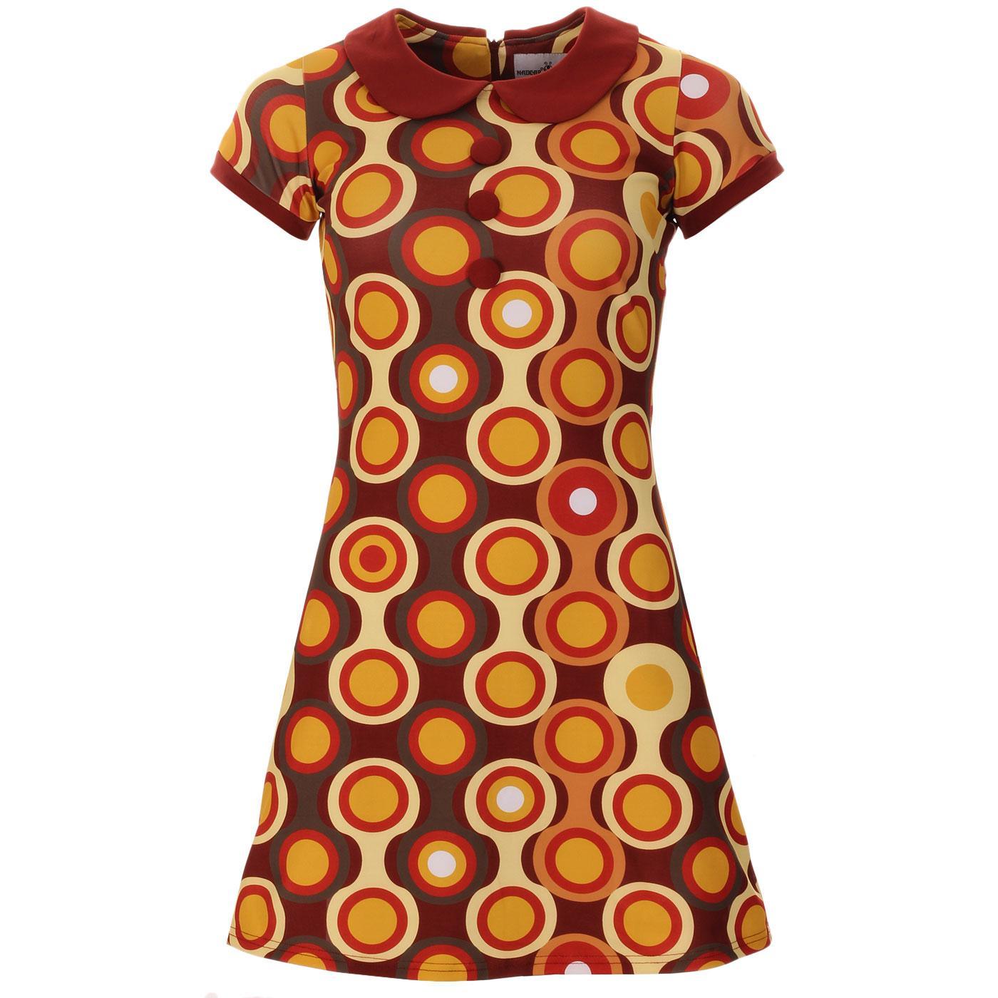 Madcap England Dollierocker Psych-Out! Circles 60s Mod Peter Pan Collar Dress in Brown/Mustard