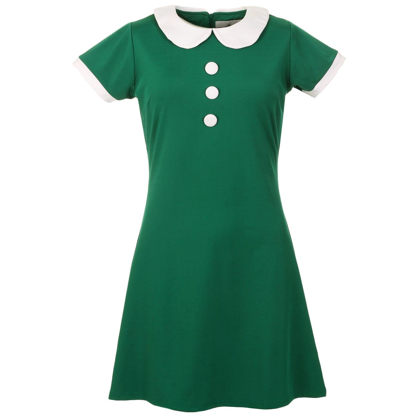 Madcap England Dollierocker 60s Mod Peter Pan Collar Dress in Teal