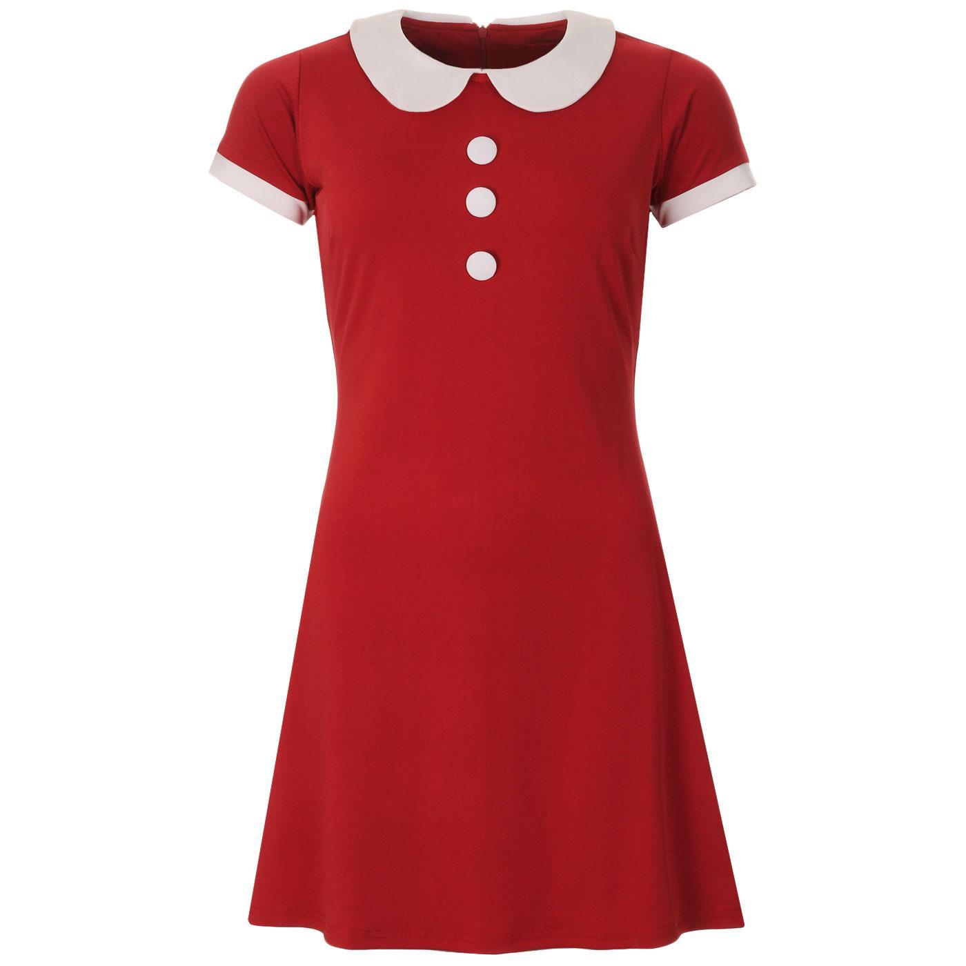 Madcap England Dollierocker 1960s Mod Peter Pan Collar Dress in Chilli Pepper Red
