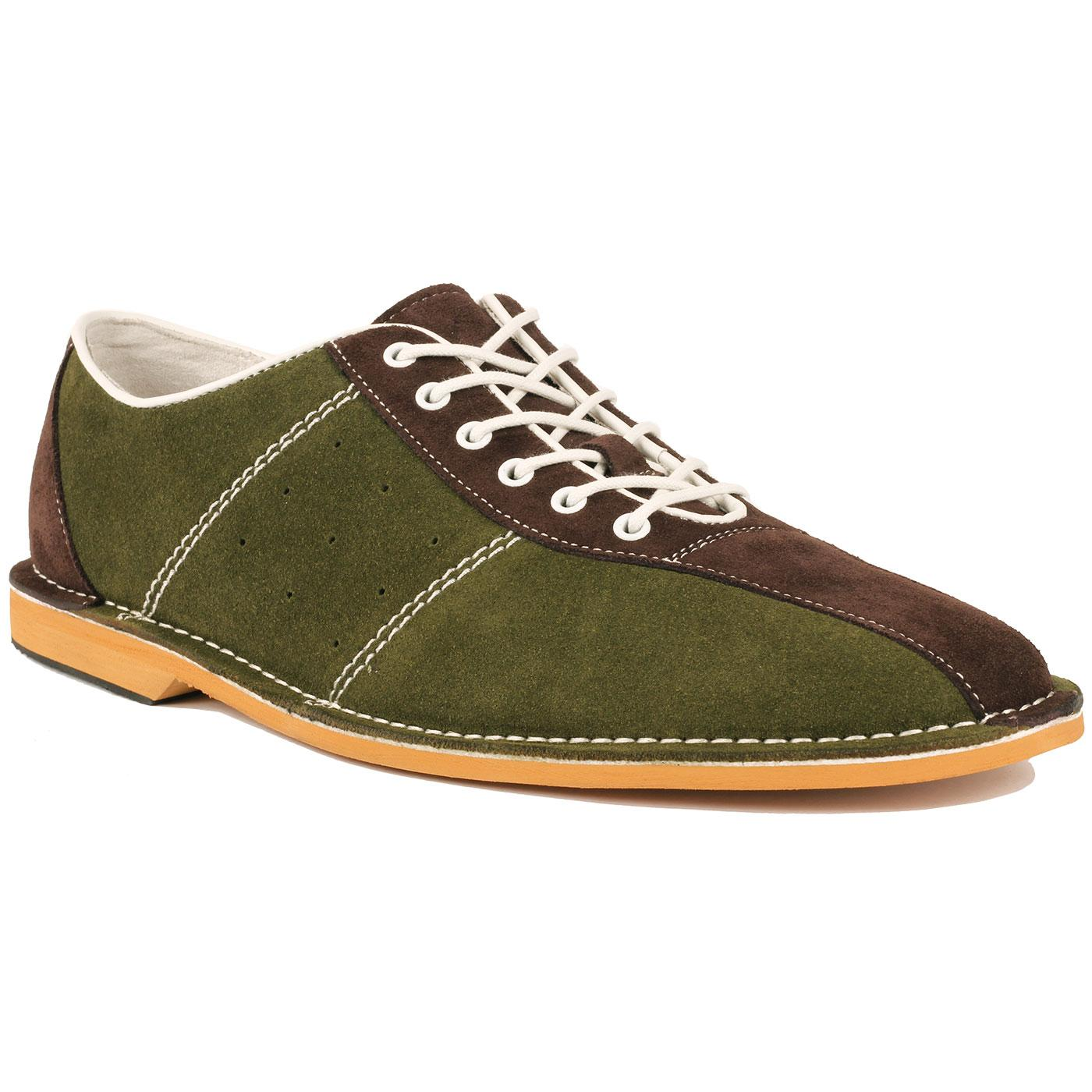 Madcap England Dude Mod Northern Soul Bowling Shoes in Dark Green/Brown