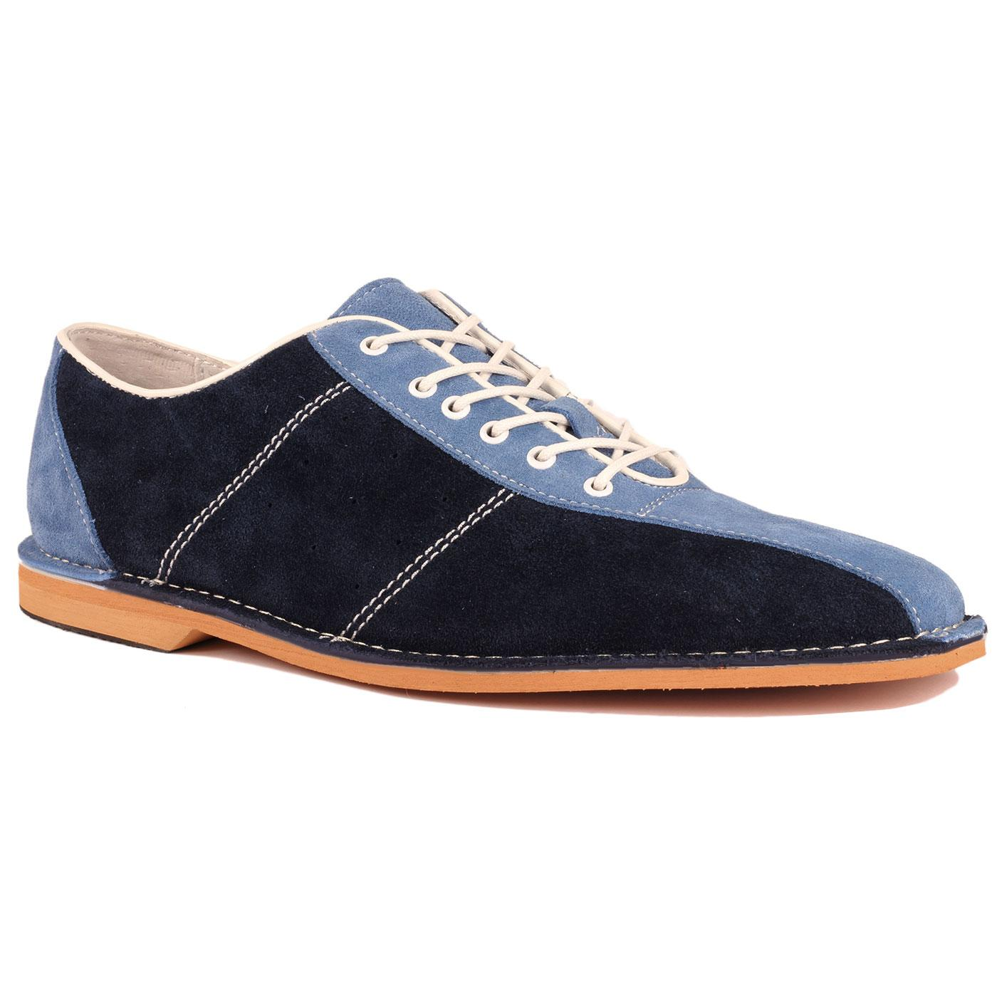 Madcap England All Up Men's Mod Northern Soul Bowling Shoes in Navy/Sky