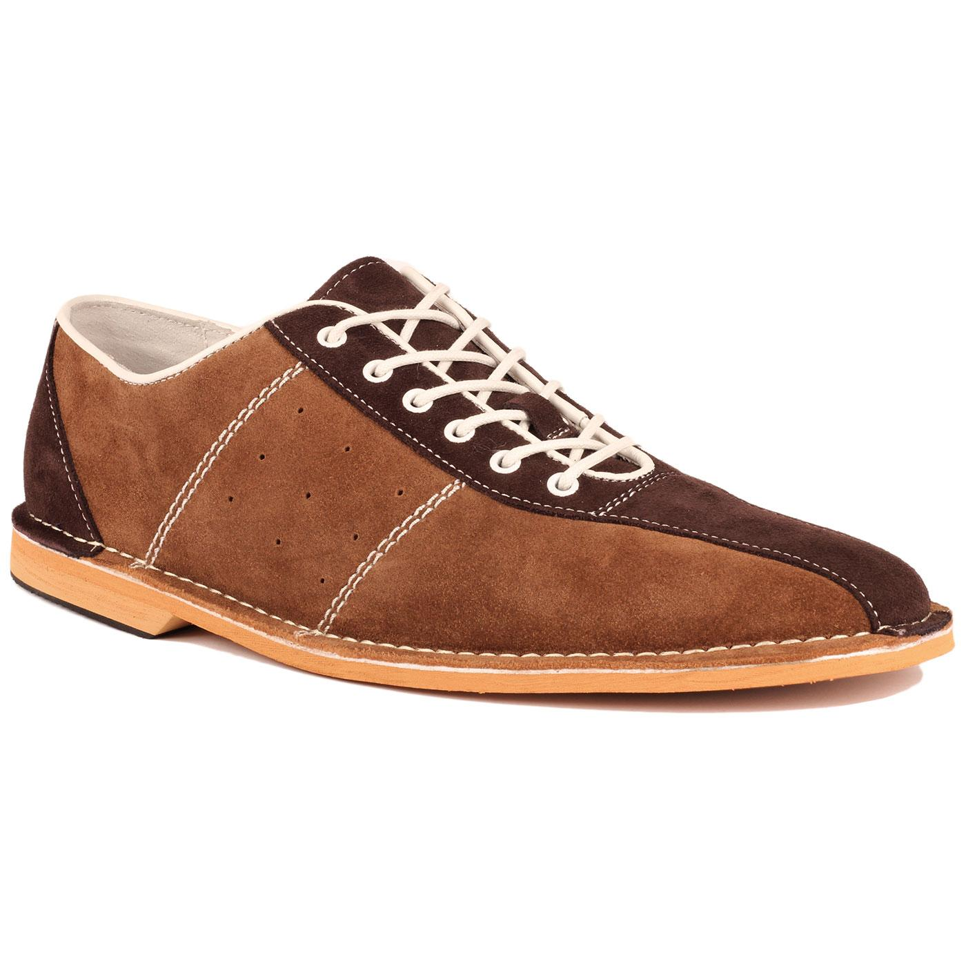 Madcap England Dude Men's Retro Mod Northern Soul Bowling Shoes in Tan Suede