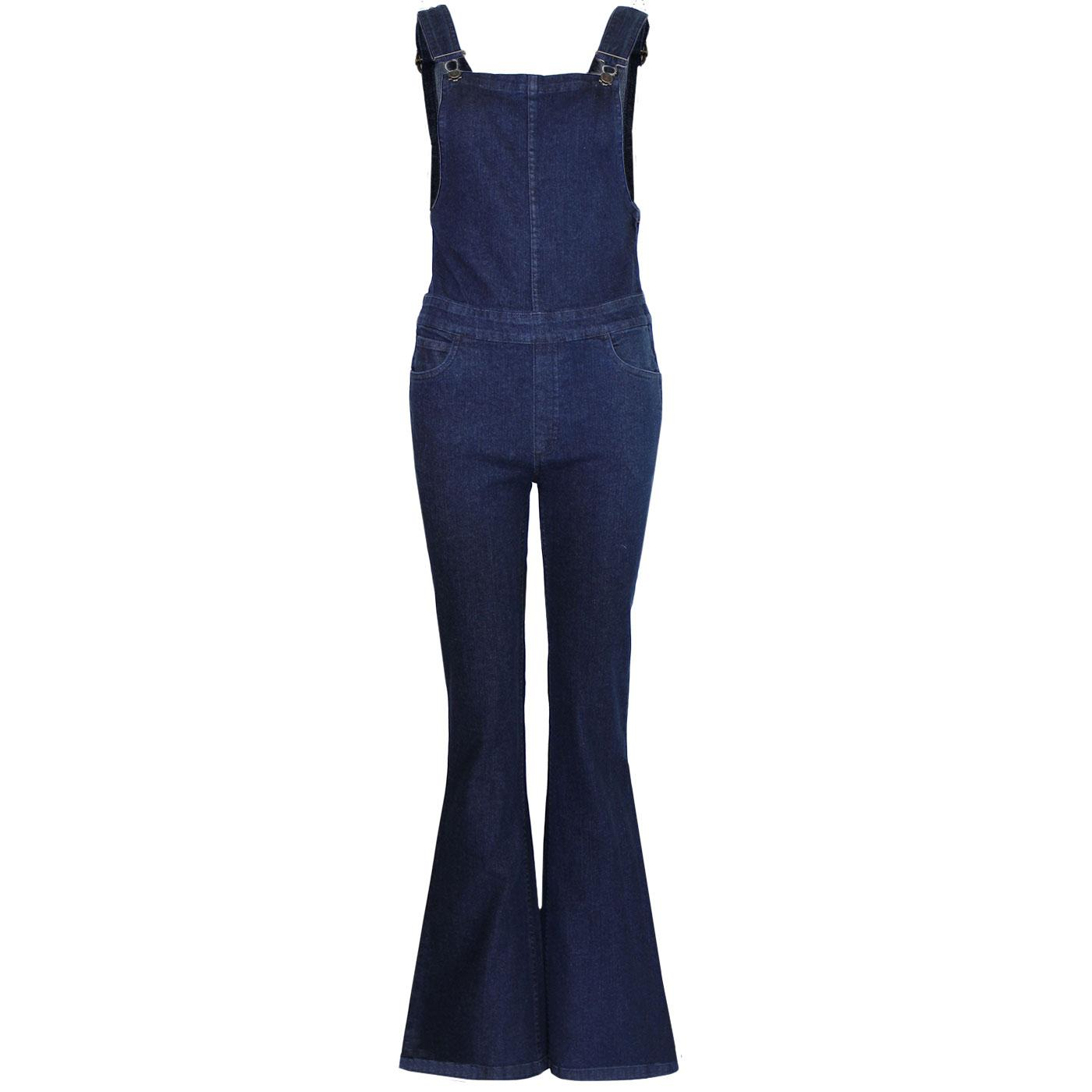 Madcap England Retro 1970s Dungaree Bib Flare in Blue