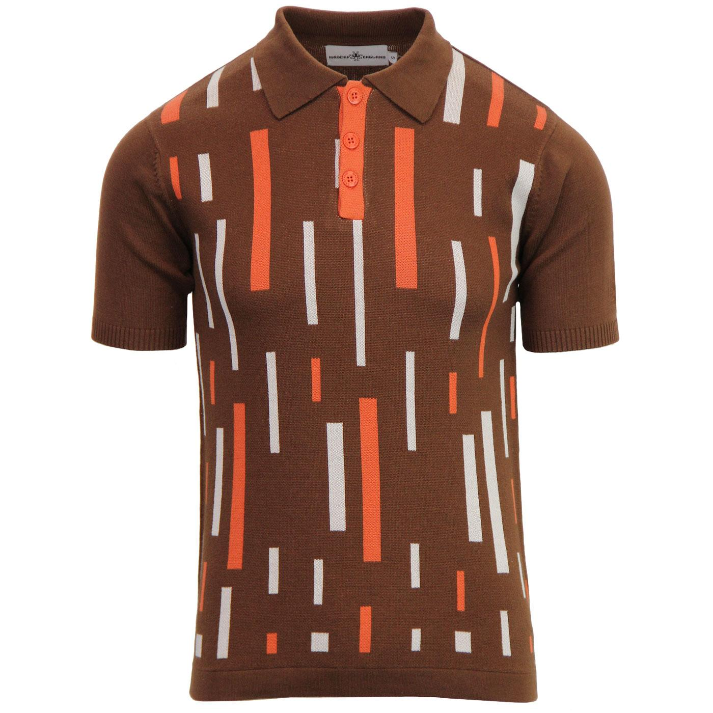 Madcap England Eames Men's 1960s Mod Colour Block Polo Shirt in Bison Brown