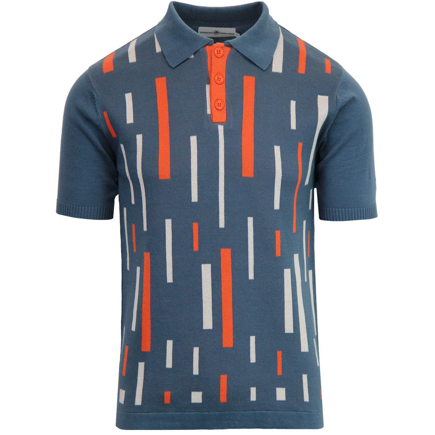 Madcap England Eames Men's 1960s Mod Colour Block Polo Shirt in Orion Blue