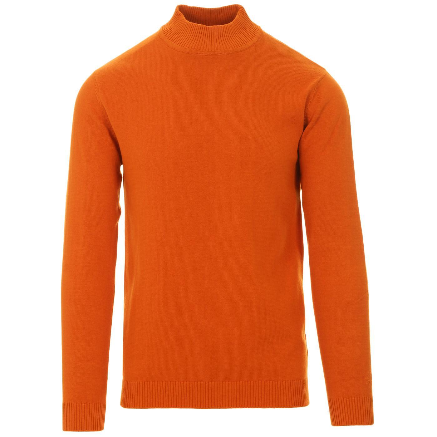 Madcap England Eastwood 60s Mod Knitted Mock Turtleneck Jumper in Marmalade