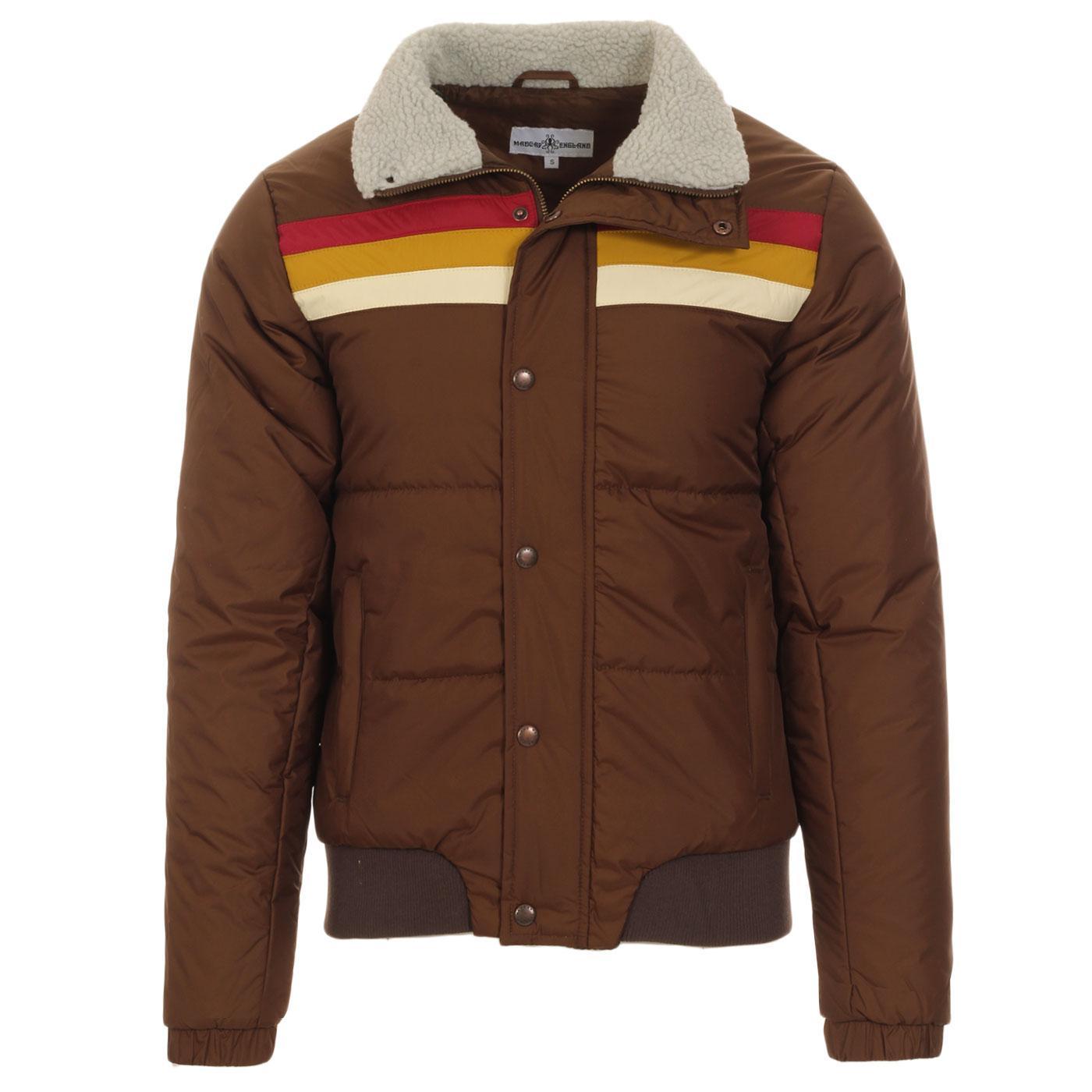 Madcap England Edge Men's Retro 1970s Rainbow Stripe Ski Jacket in Carafe Brown