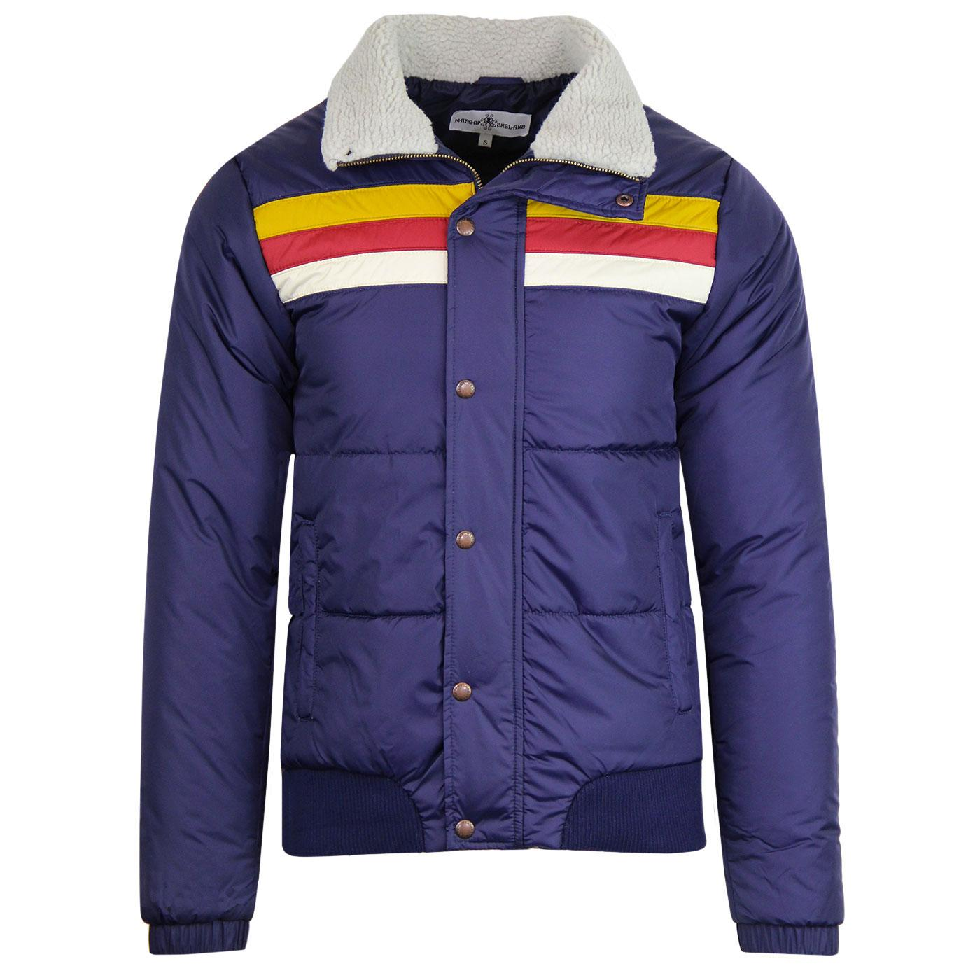 Edge MADCAP ENGLAND Retro Stripe Ski Jacket (Navy)