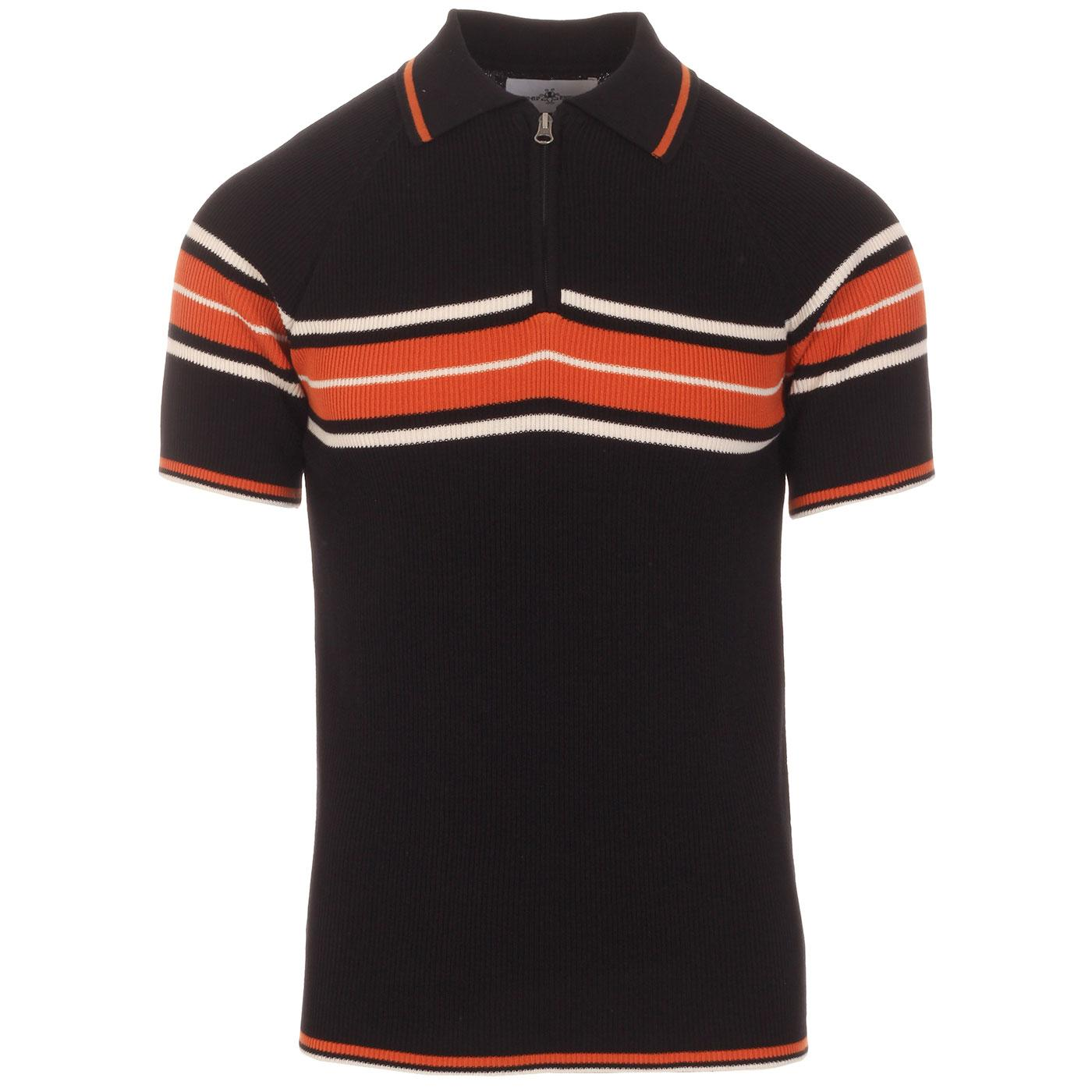 Madcap England Fireball Men's 1960s Mod Ribbed Stripe Zip Neck Polo Shirt in Black