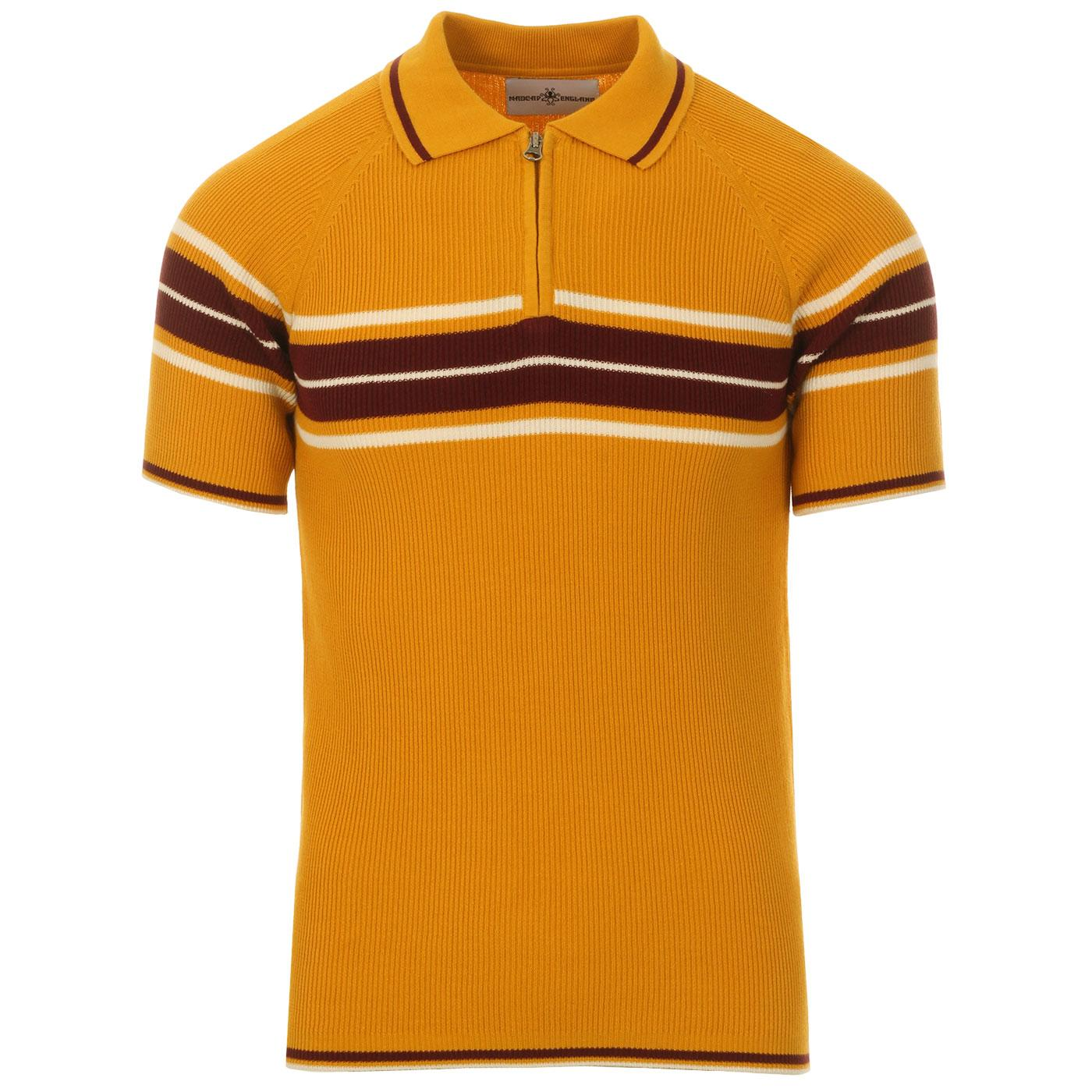 Madcap England Fireball Men's 1960s Mod Ribbed Stripe Zip Neck Polo Shirt in Golden Glow