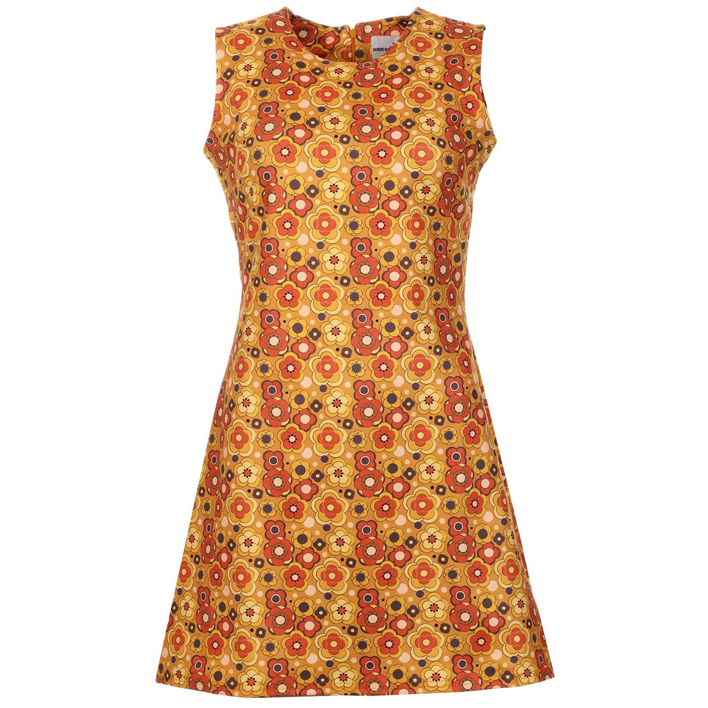 Madcap England Retro 60s Mod Yellow Floral Shift Dress