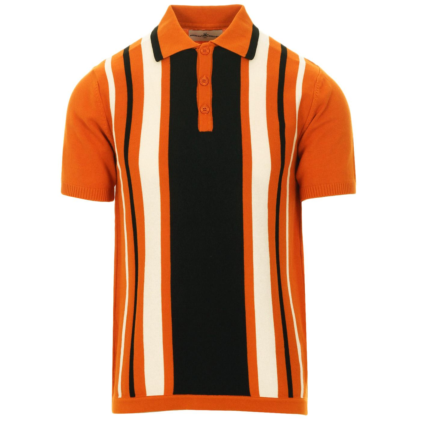 Madcap England Folklore 60s Mod Stripe Panel Knitted Polo Shirt in Marmalade
